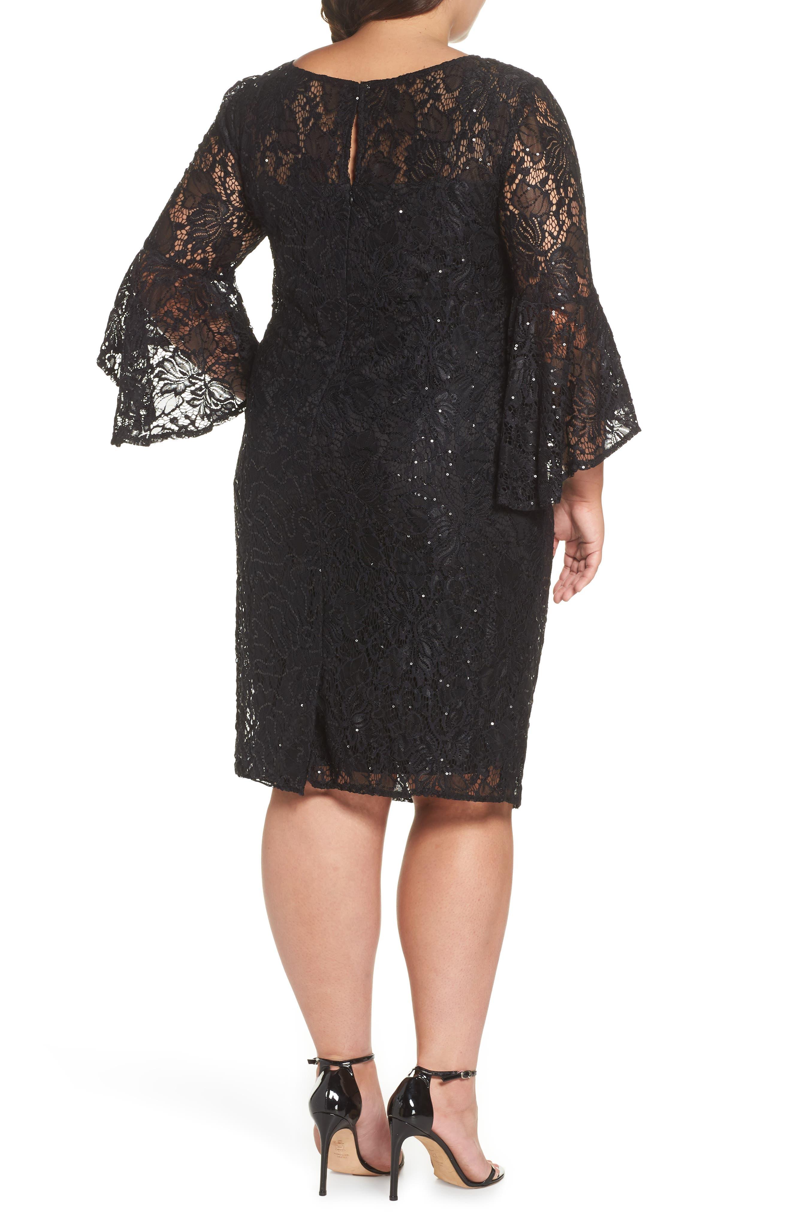 Bell Sleeve Lace Sheath Dress,                             Alternate thumbnail 2, color,                             BLACK