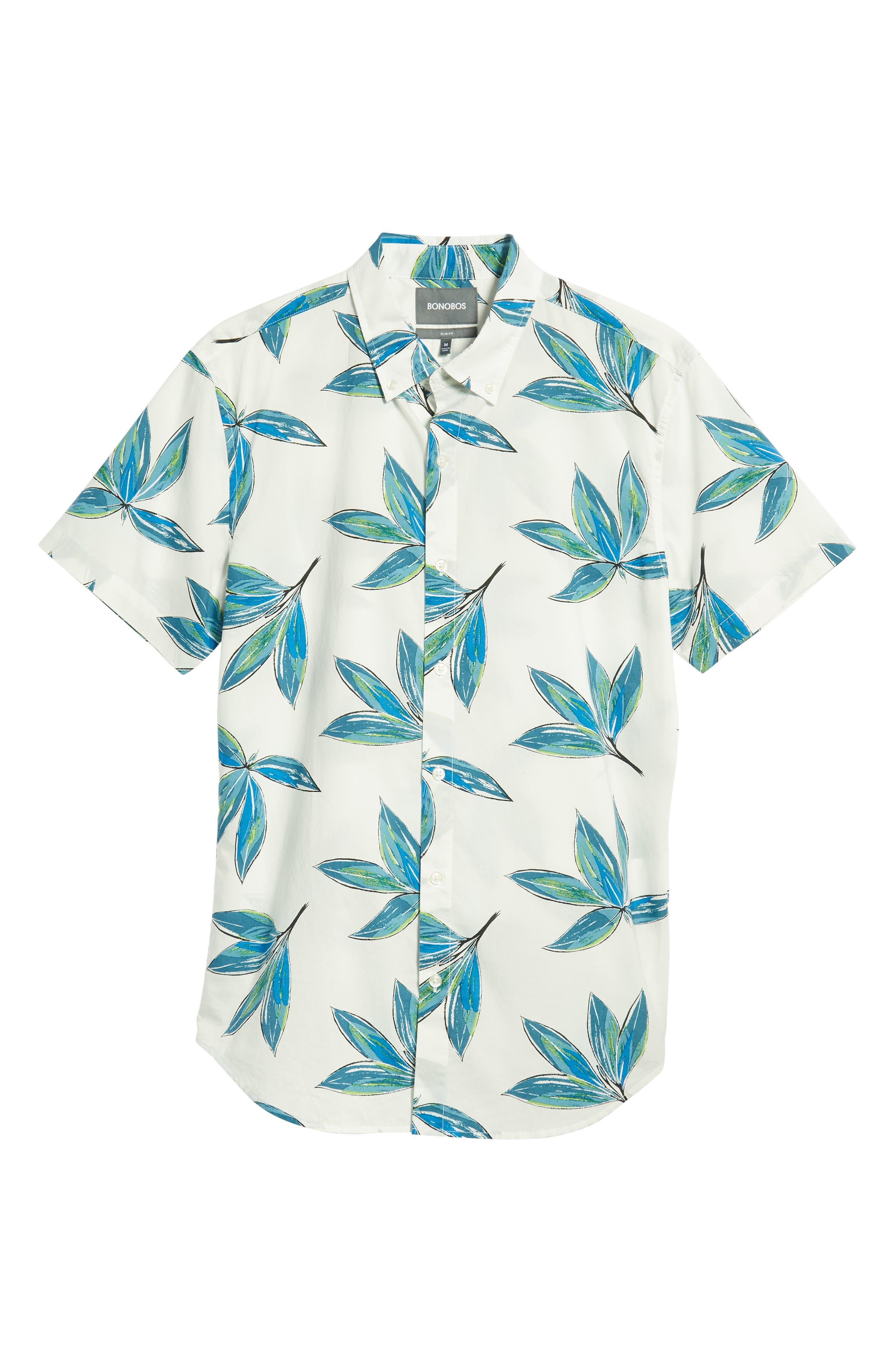 Riviera Slim Fit Leaf Print Sport Shirt,                             Alternate thumbnail 5, color,                             LEAF BUNCH