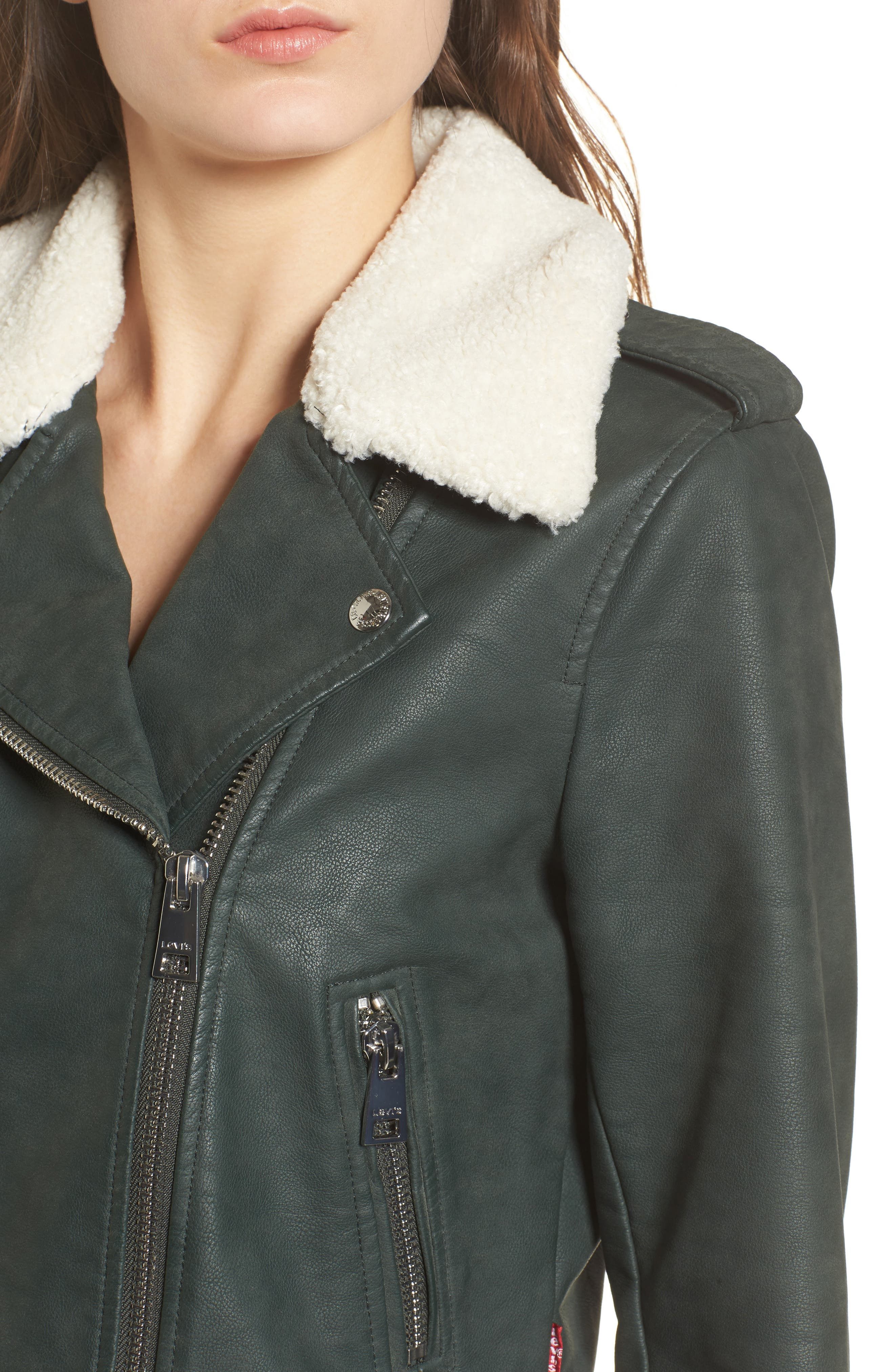 Levis<sup>®</sup> Sherpa Faux Leather Moto Jacket with Faux Fur Collar,                             Alternate thumbnail 8, color,