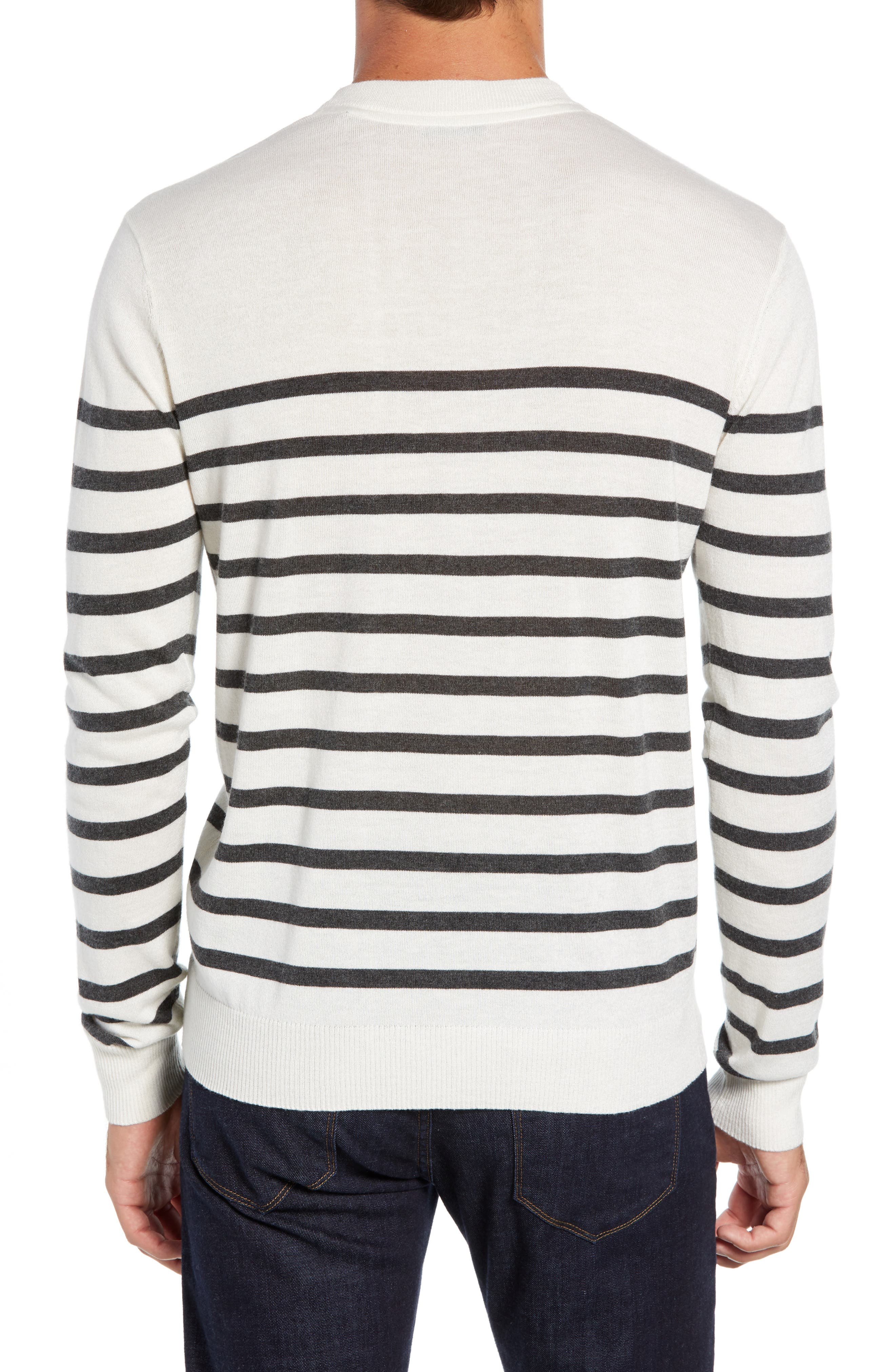 ATM ANTHONY THOMAS MELILLO,                             Sailor Stripe Silk Blend Sweater,                             Alternate thumbnail 2, color,                             CHALK/ CHARCOAL COMBO