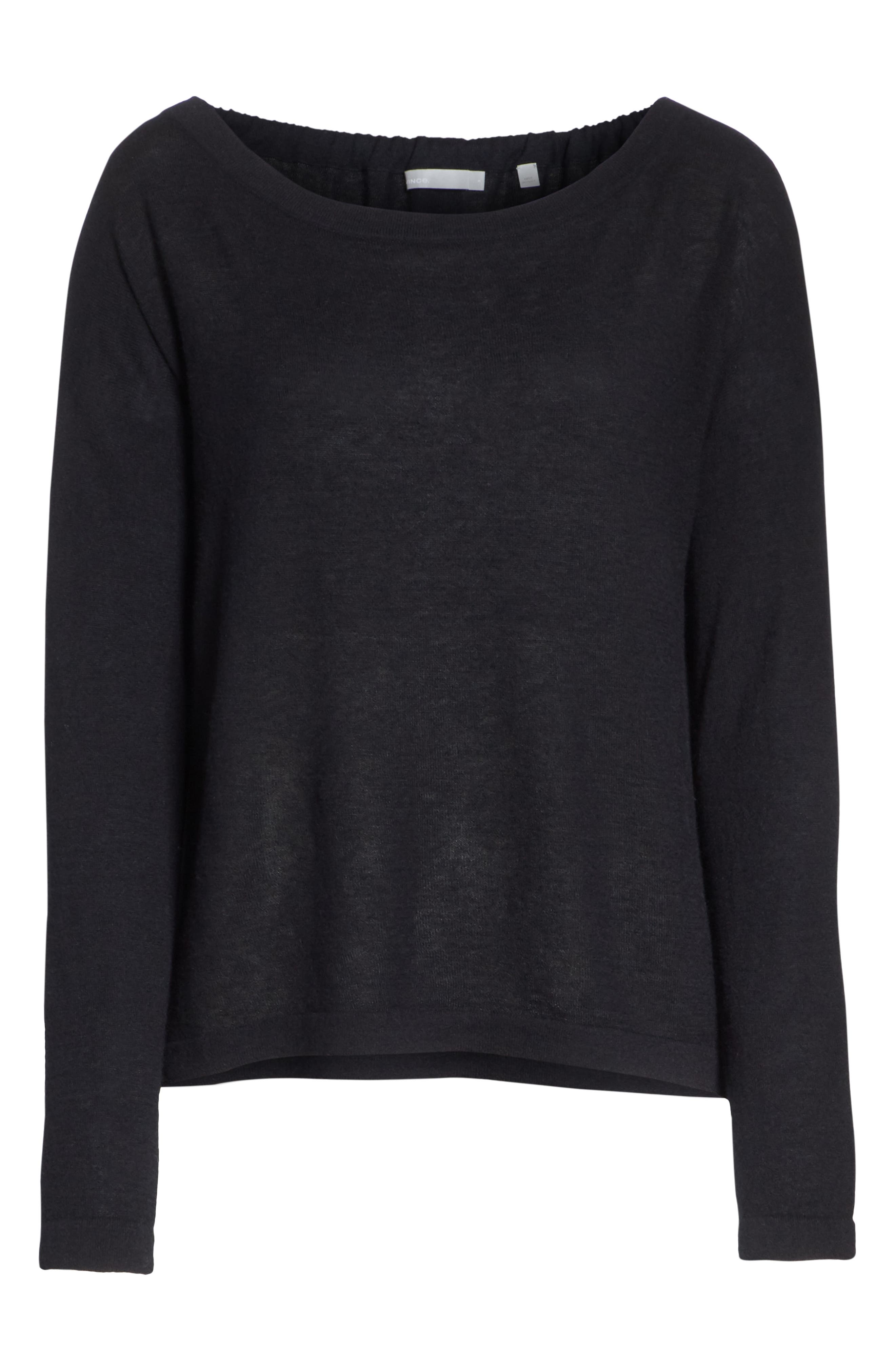 Cinched Back Cashmere Sweater,                             Alternate thumbnail 6, color,                             001