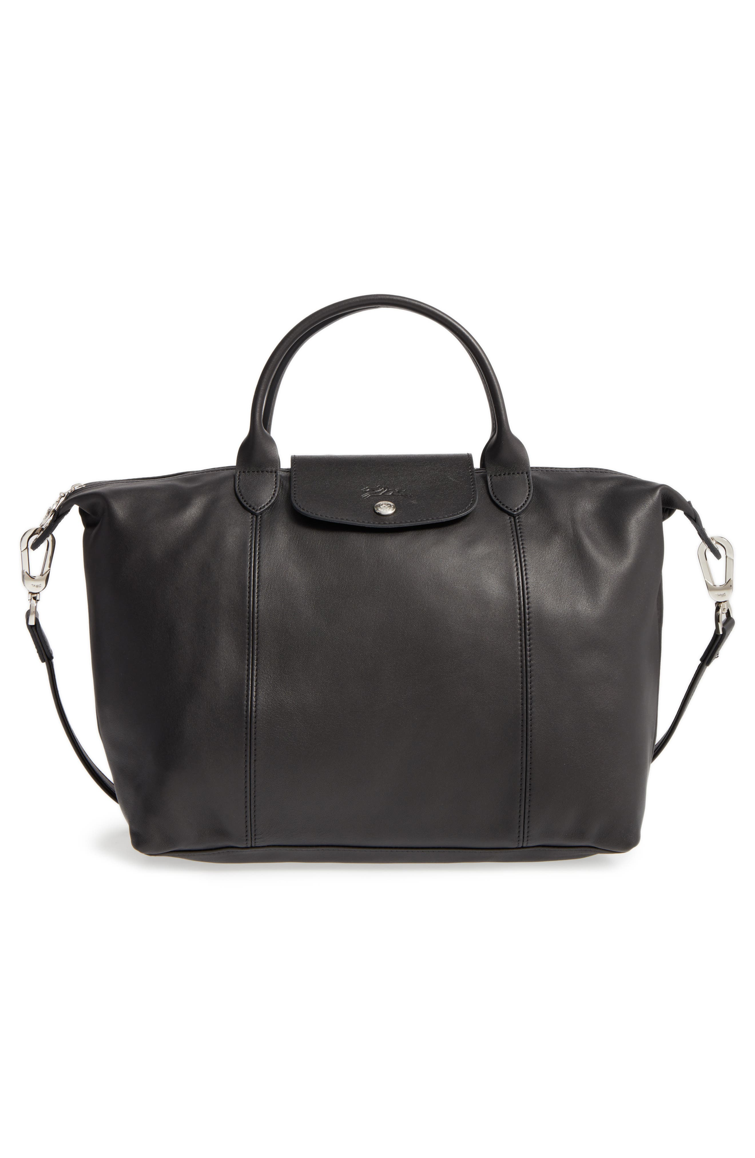 Medium 'Le Pliage Cuir' Leather Top Handle Tote,                             Alternate thumbnail 6, color,                             BLACK