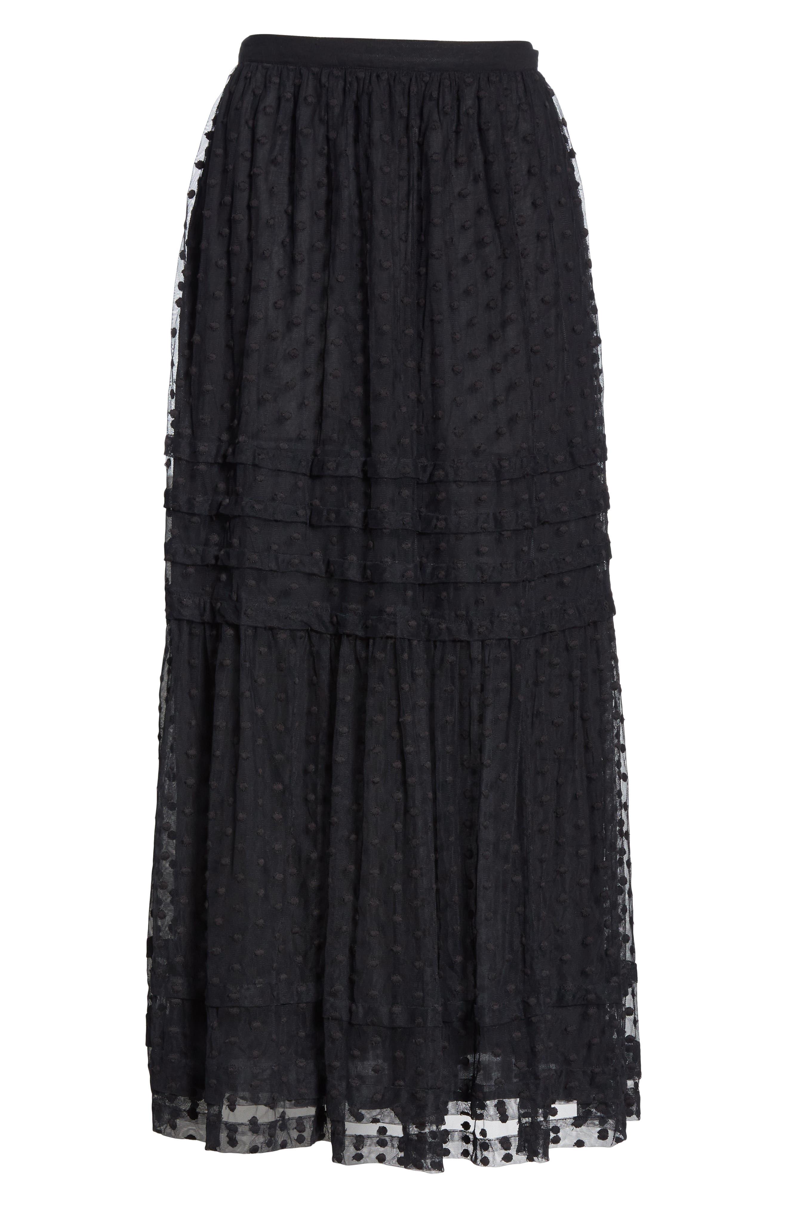 The Sway Polka Dot Mesh Skirt,                             Alternate thumbnail 6, color,                             BLACK