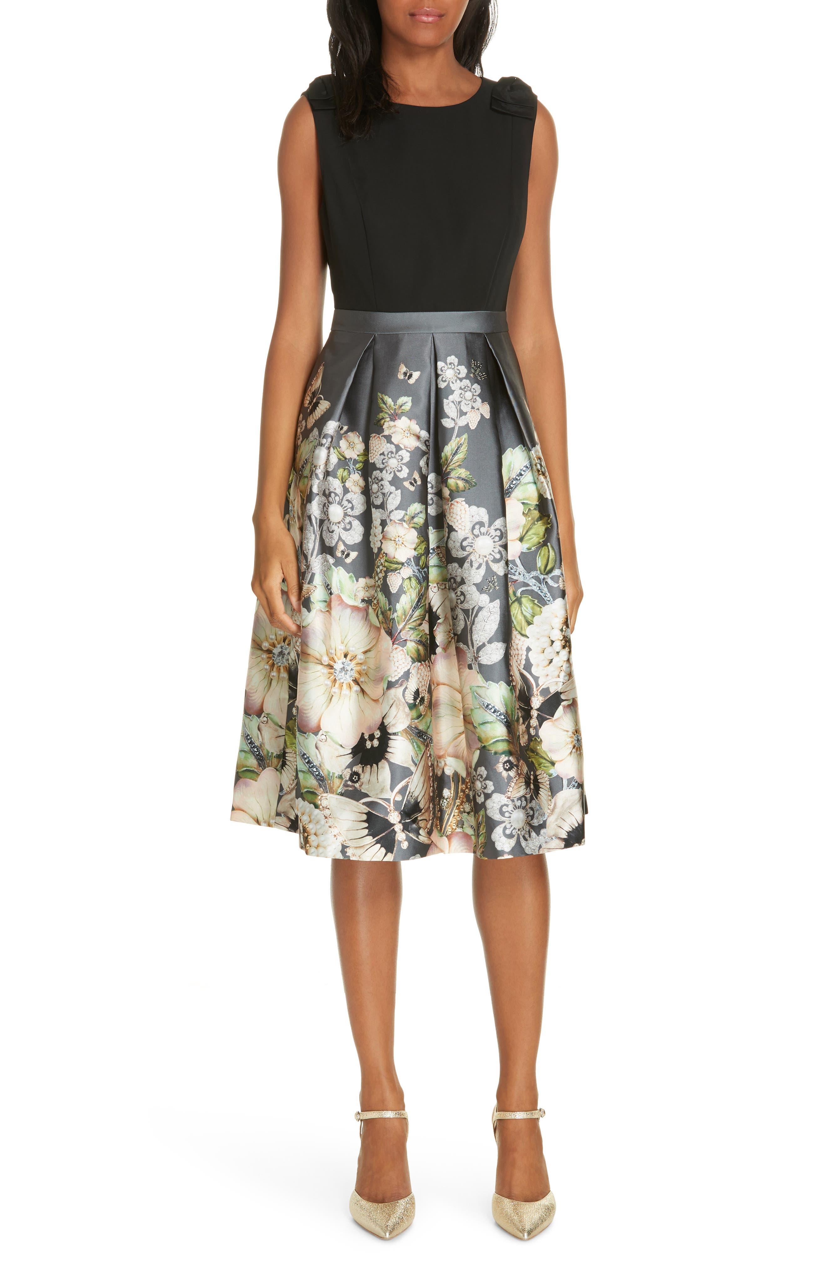 Molyka Gem Gardens Bow Dress,                             Main thumbnail 1, color,                             CHARCOAL