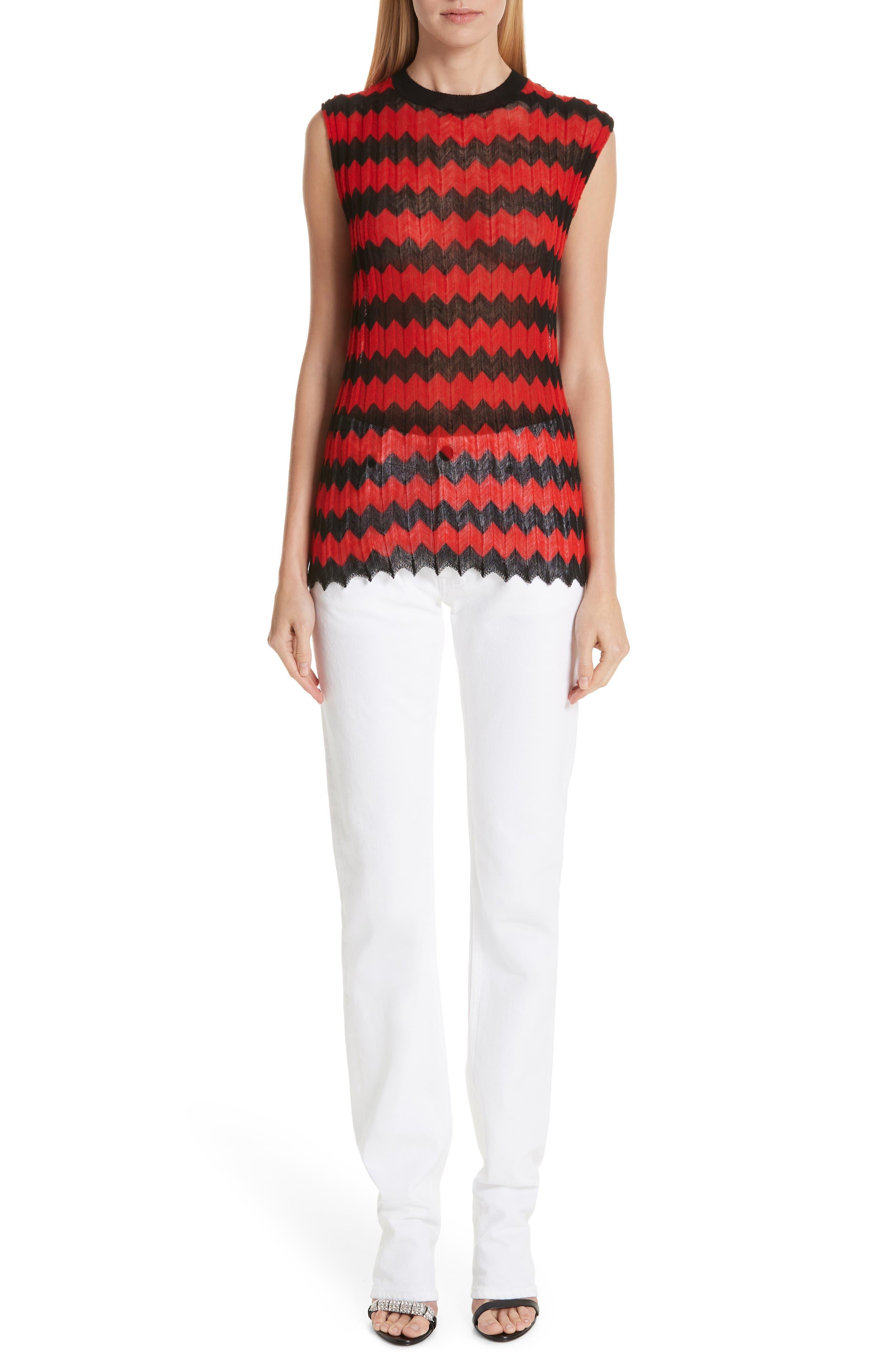 Chevron Stripe Wool Tank Top,                             Alternate thumbnail 7, color,                             RED BLACK