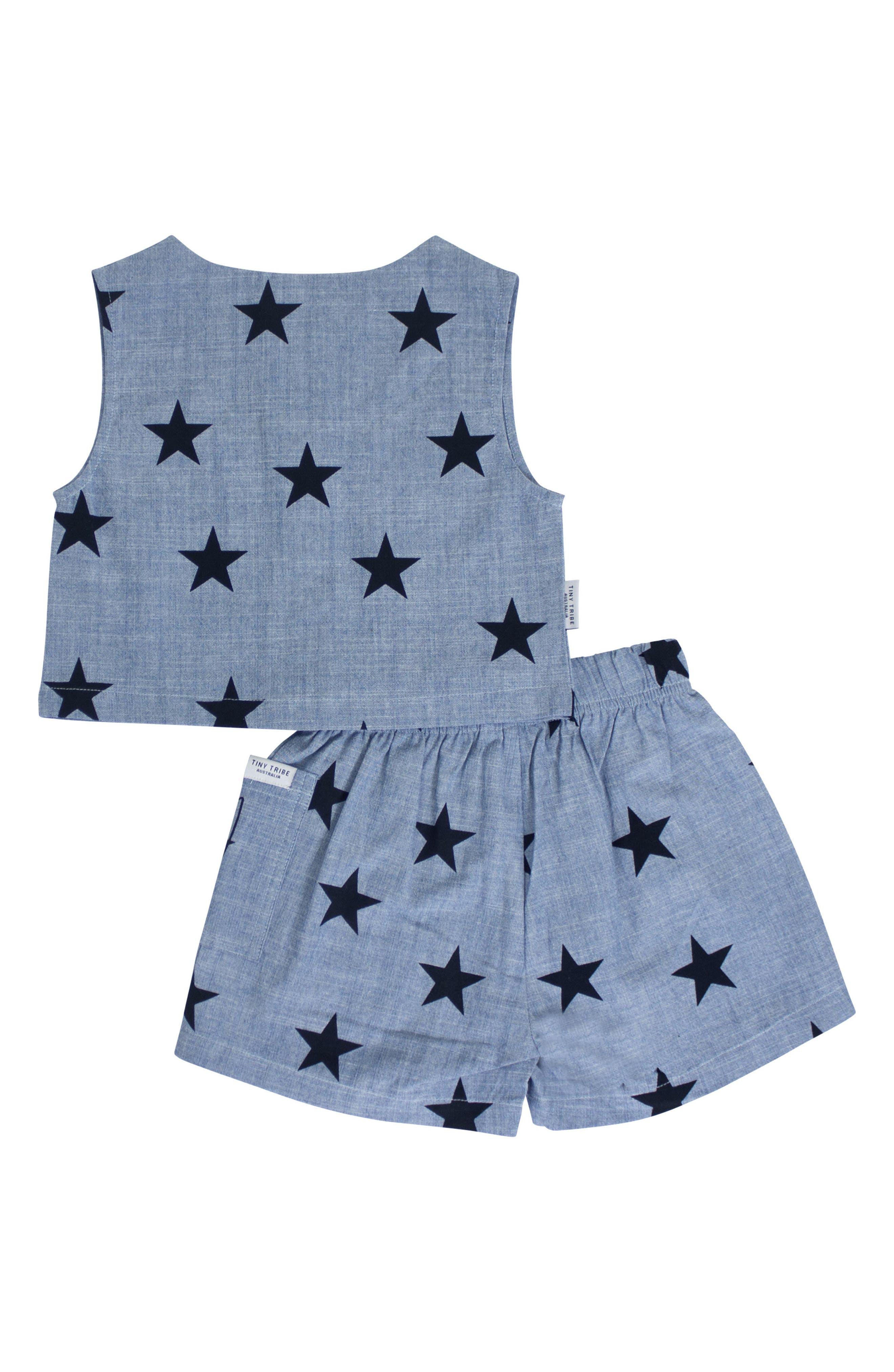 Star Chambray Top & Shorts Set,                             Alternate thumbnail 2, color,                             CHAMBRAY