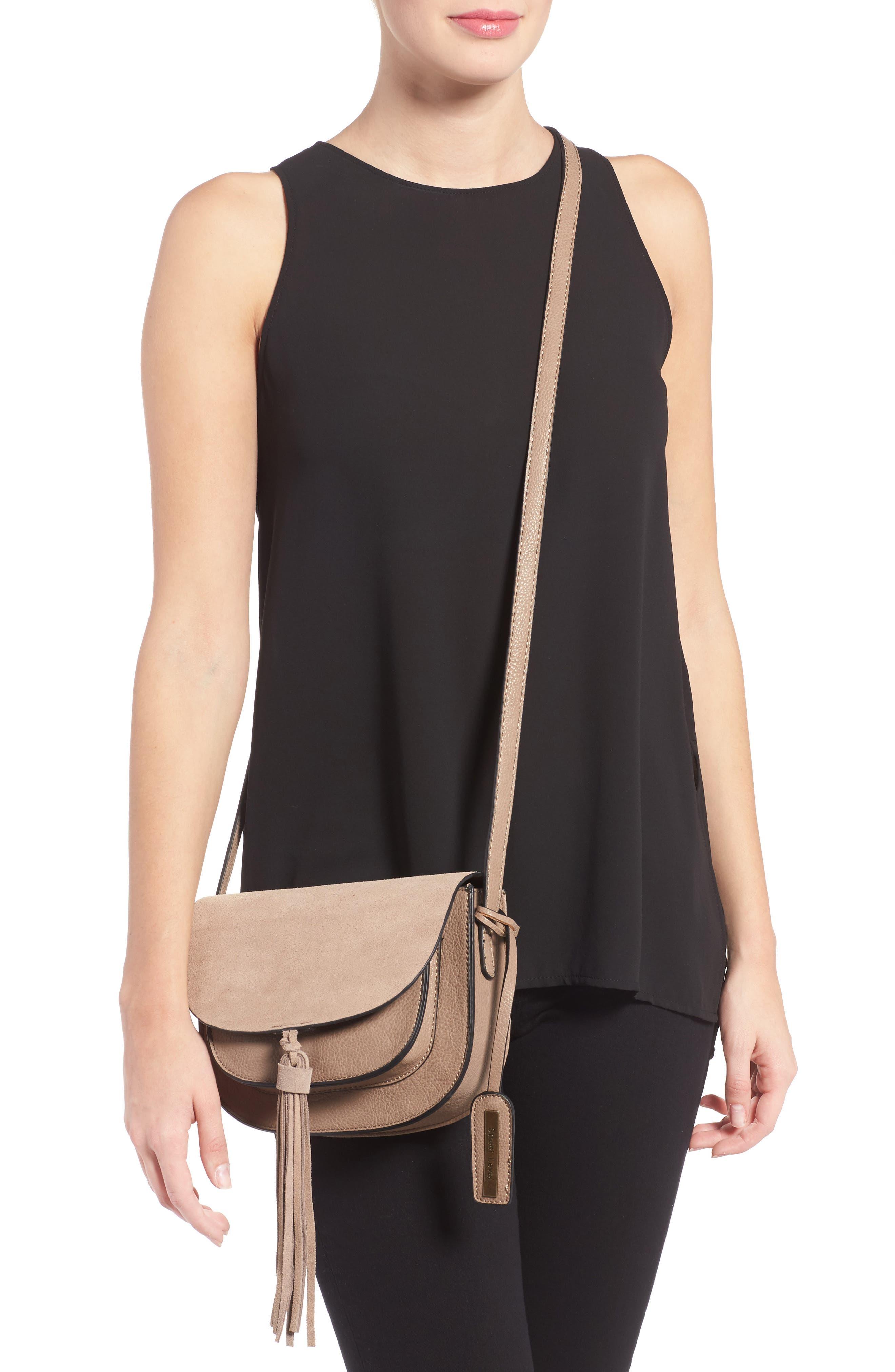 Tassel Faux Leather Crossbody Bag,                             Alternate thumbnail 3, color,                             250