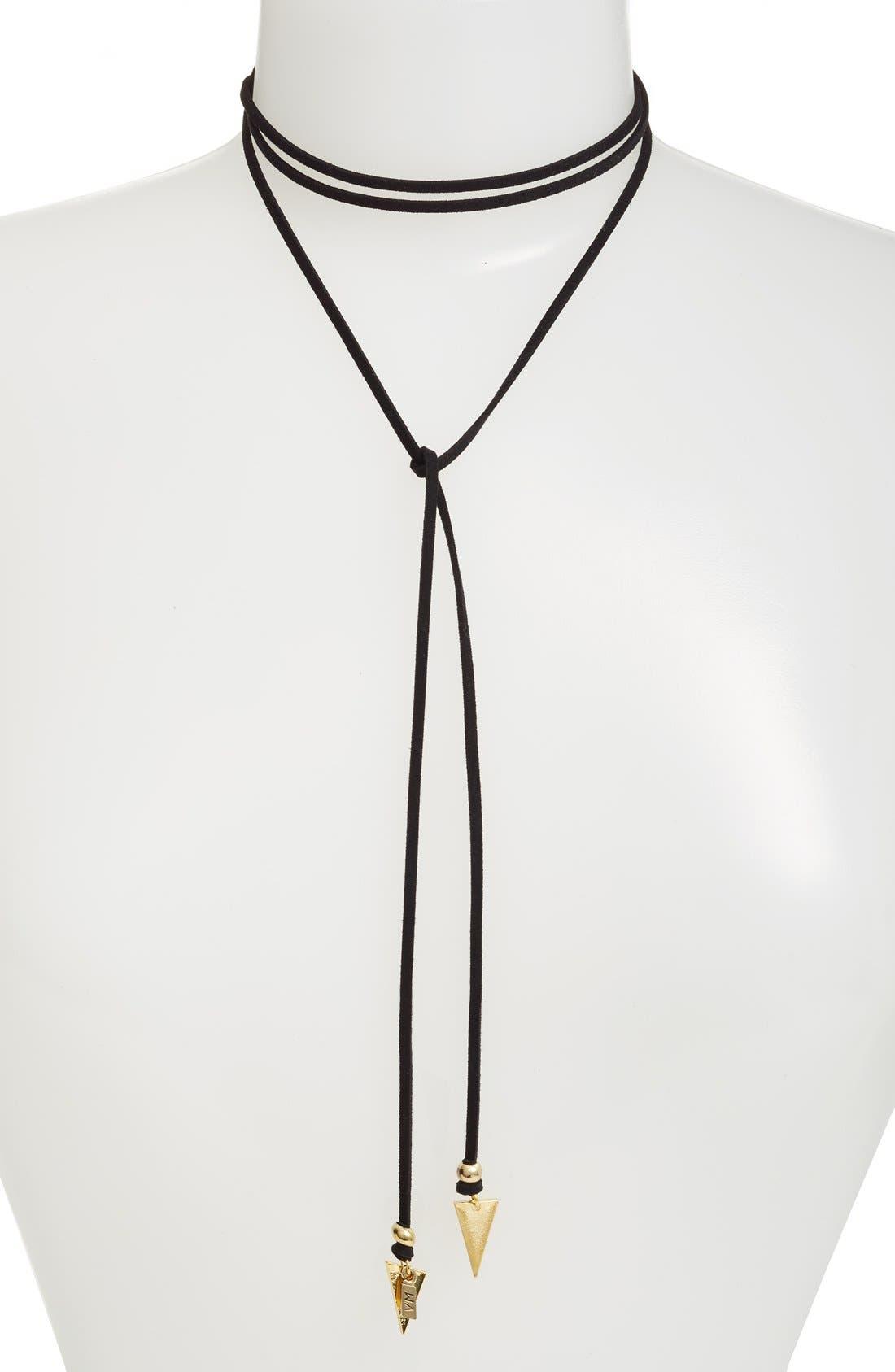 'Arrow' Faux Suede Lariat Choker,                         Main,                         color, 710
