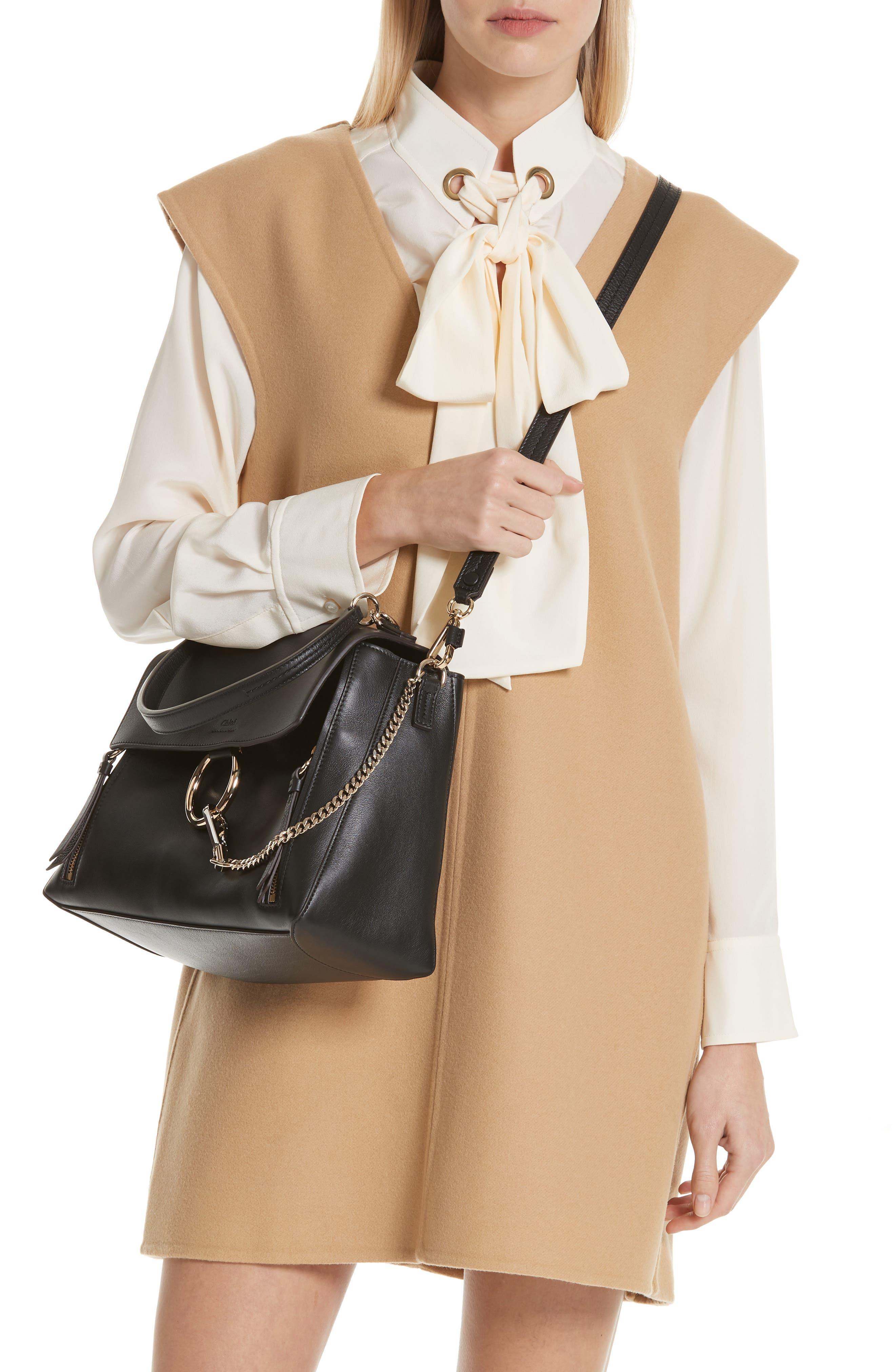 Medium Faye Leather Shoulder Bag,                             Alternate thumbnail 3, color,                             BLACK