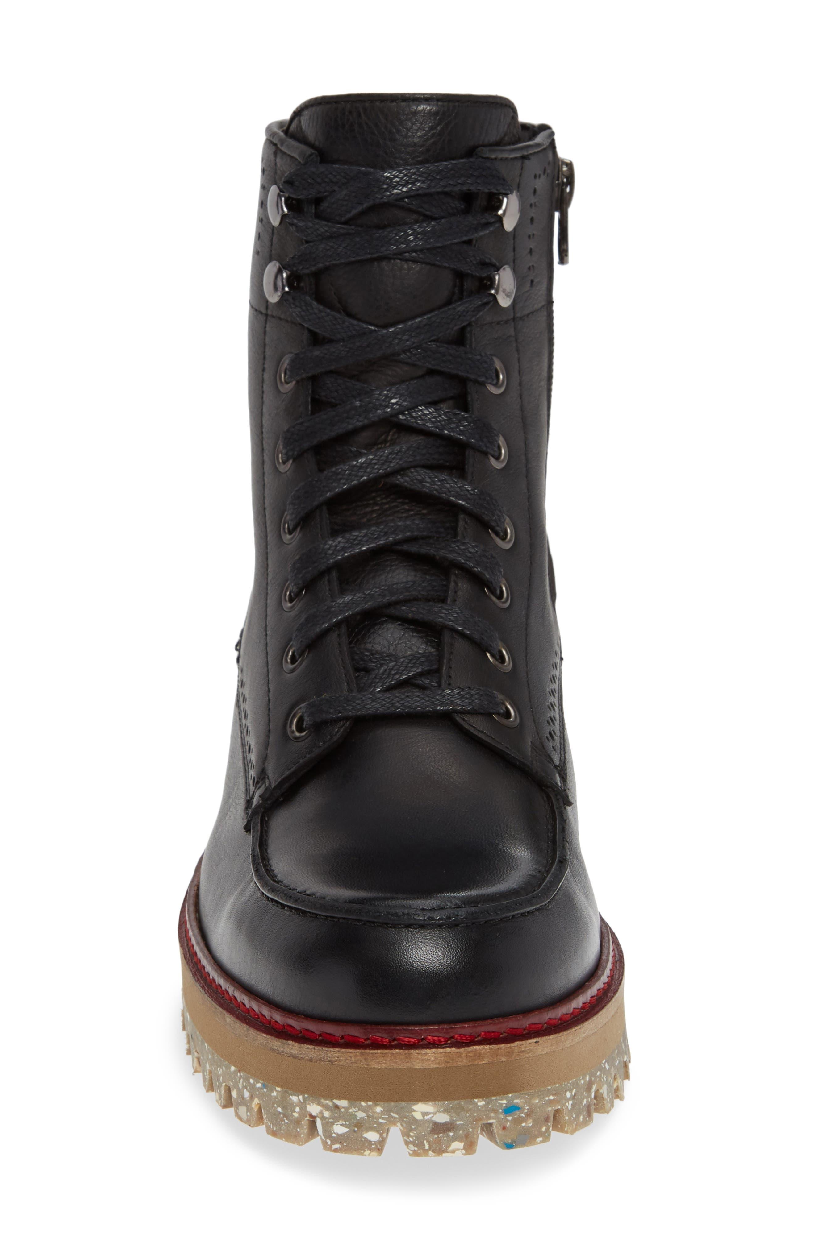 Larz Lugged Moc Toe Boot,                             Alternate thumbnail 4, color,                             BLACK