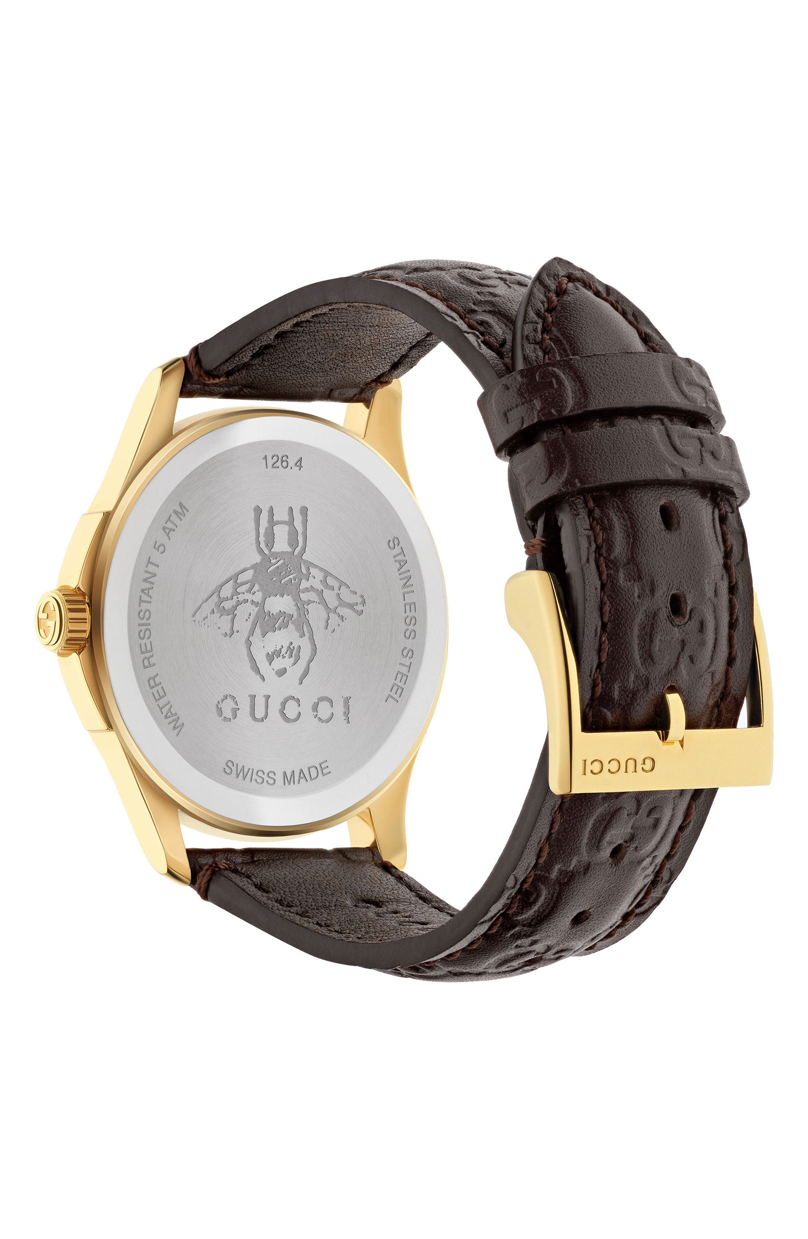 G-Timeless Leather Strap Watch, 38mm,                             Alternate thumbnail 4, color,