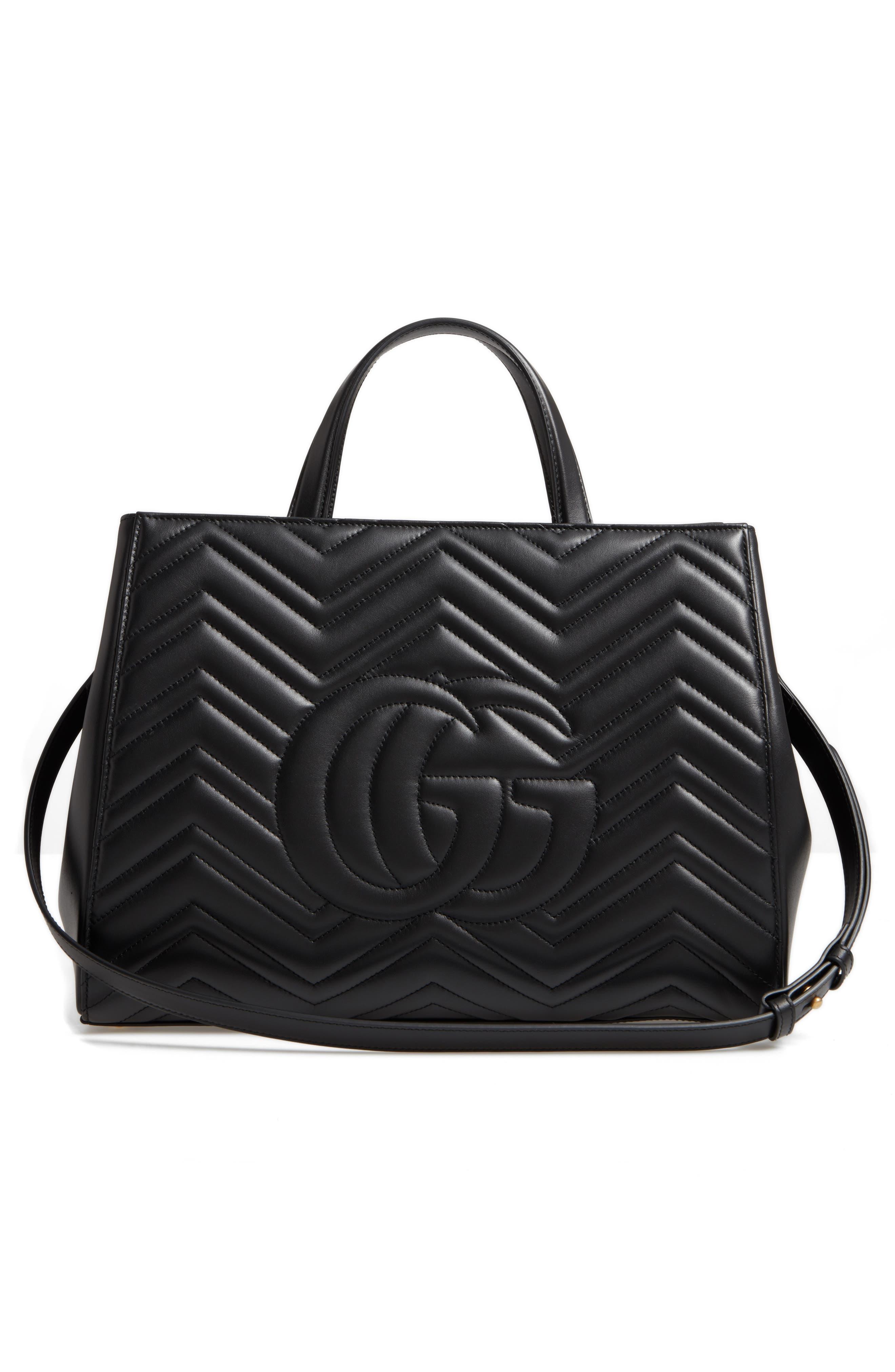 GG Marmont Medium Matelassé Leather Top Handle Shoulder Bag,                             Alternate thumbnail 3, color,                             005