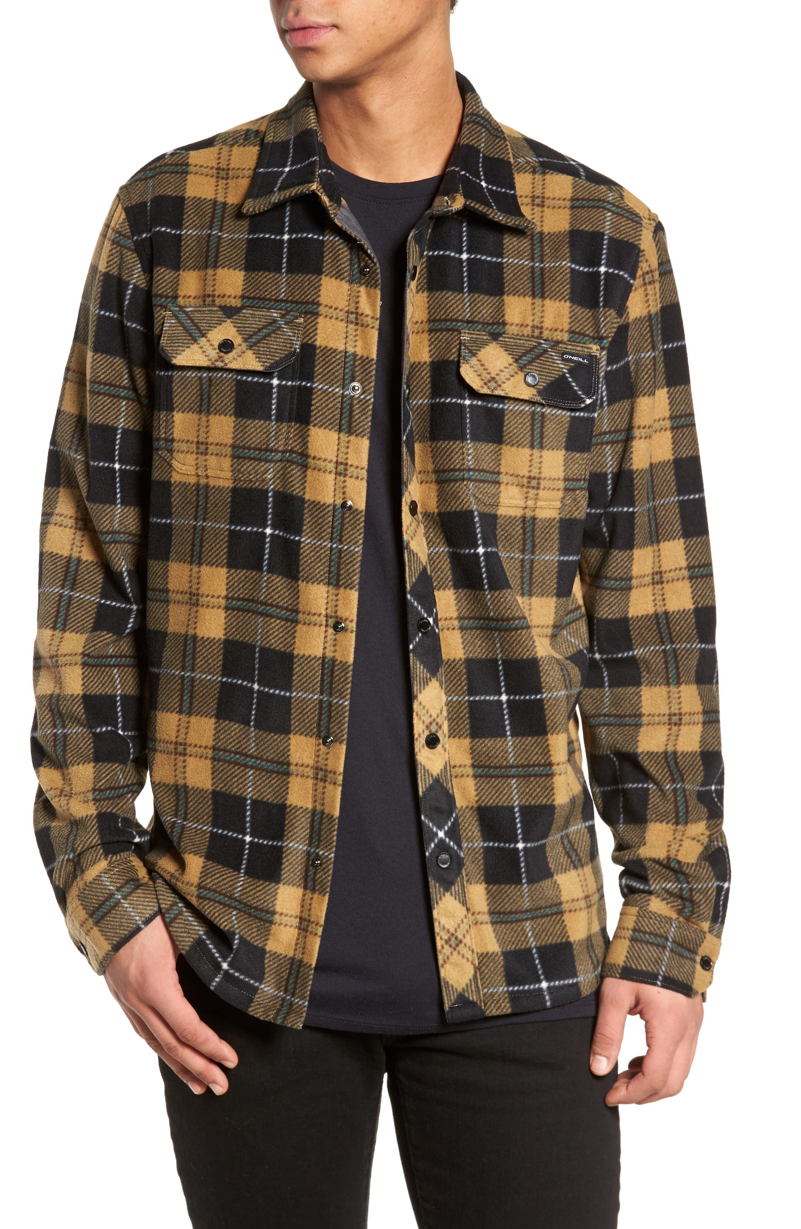Glacier Plaid Fleece Flannel Shirt,                             Main thumbnail 1, color,