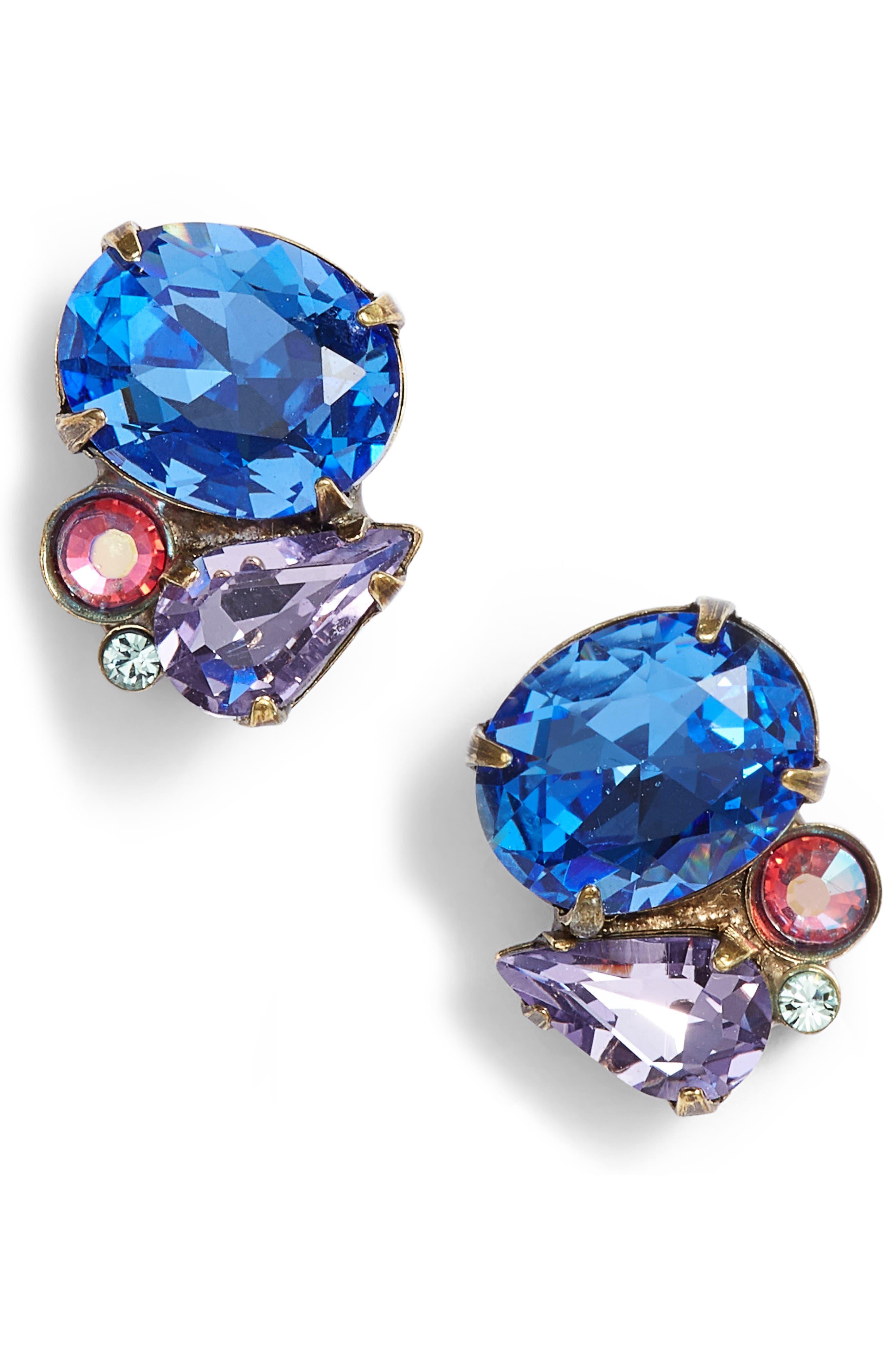 Mayflower Crystal Earrings,                         Main,                         color, BLUE