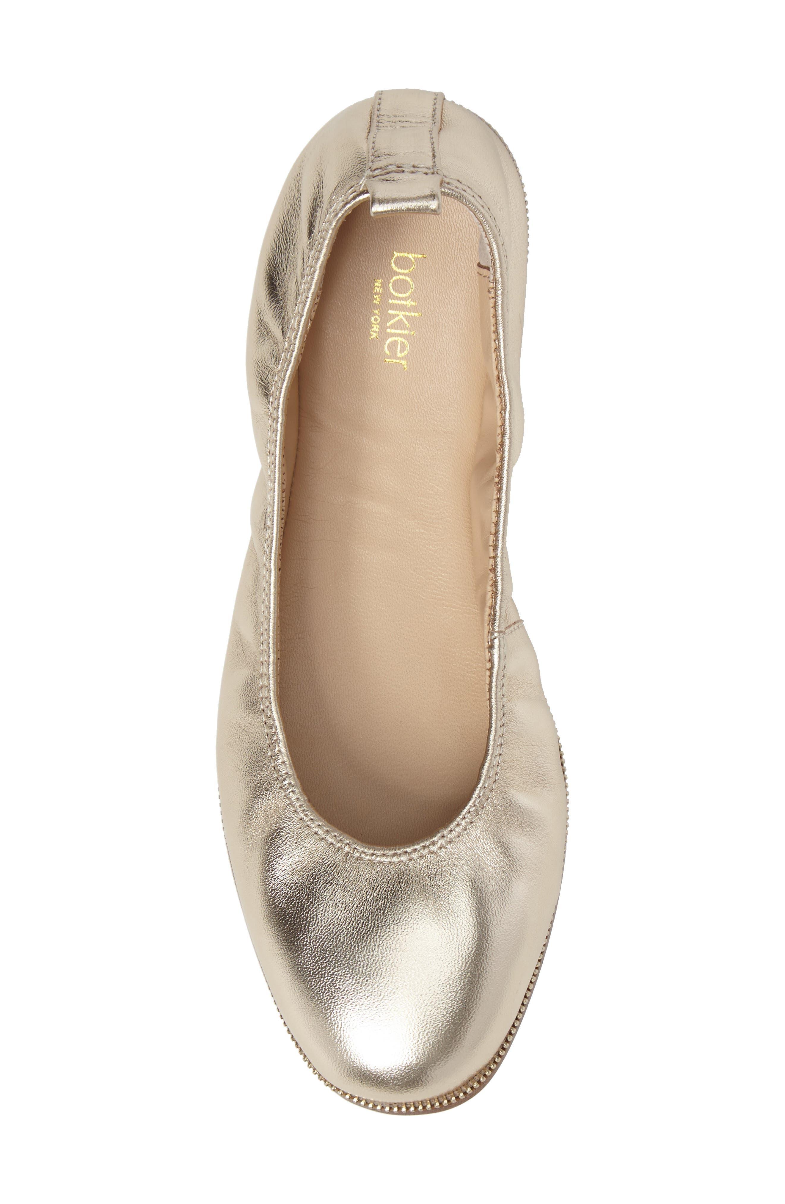 Mason Ballet Flat,                             Alternate thumbnail 5, color,                             GOLD METALLIC NAPPA LEATHER