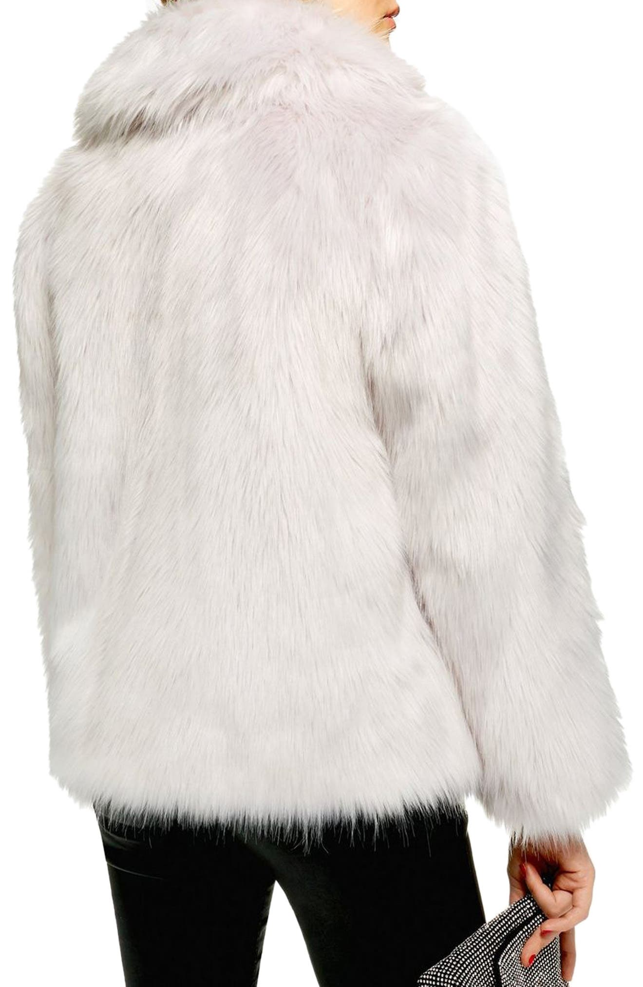 Camille Faux Fur Coat,                             Alternate thumbnail 2, color,                             LIGHT GREY