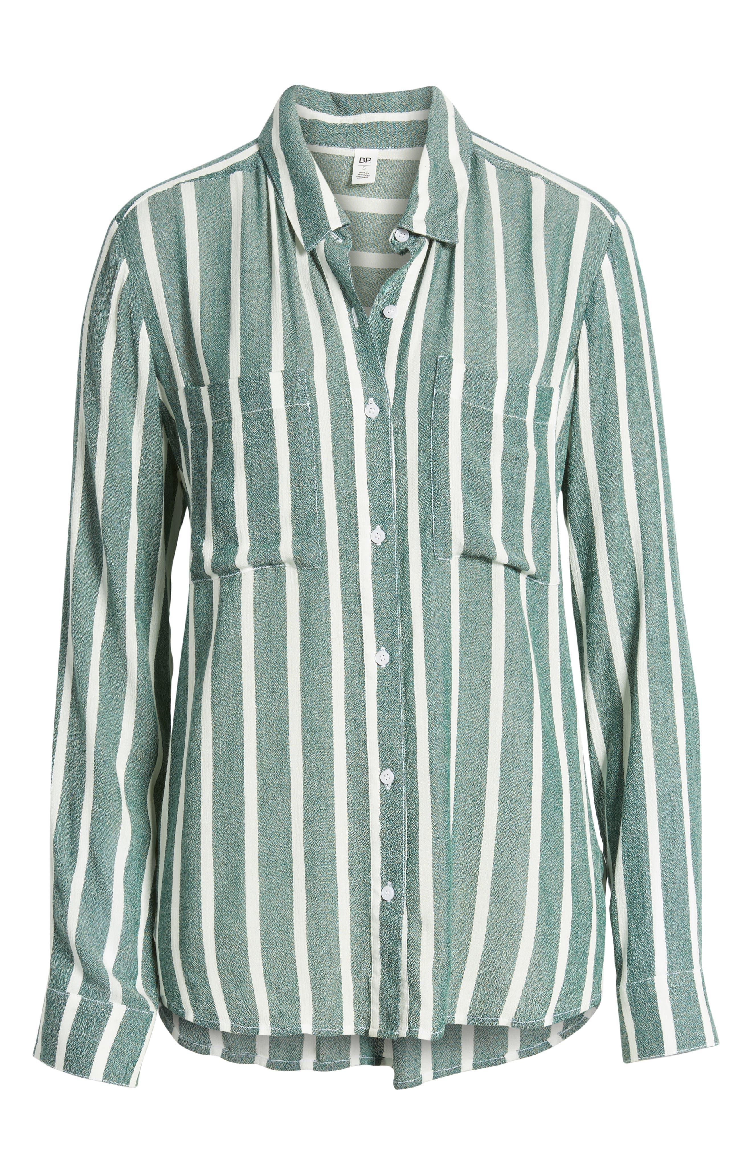 The Perfect Shirt,                             Alternate thumbnail 6, color,                             GREEN BOTANICAL KASEY STRIPE