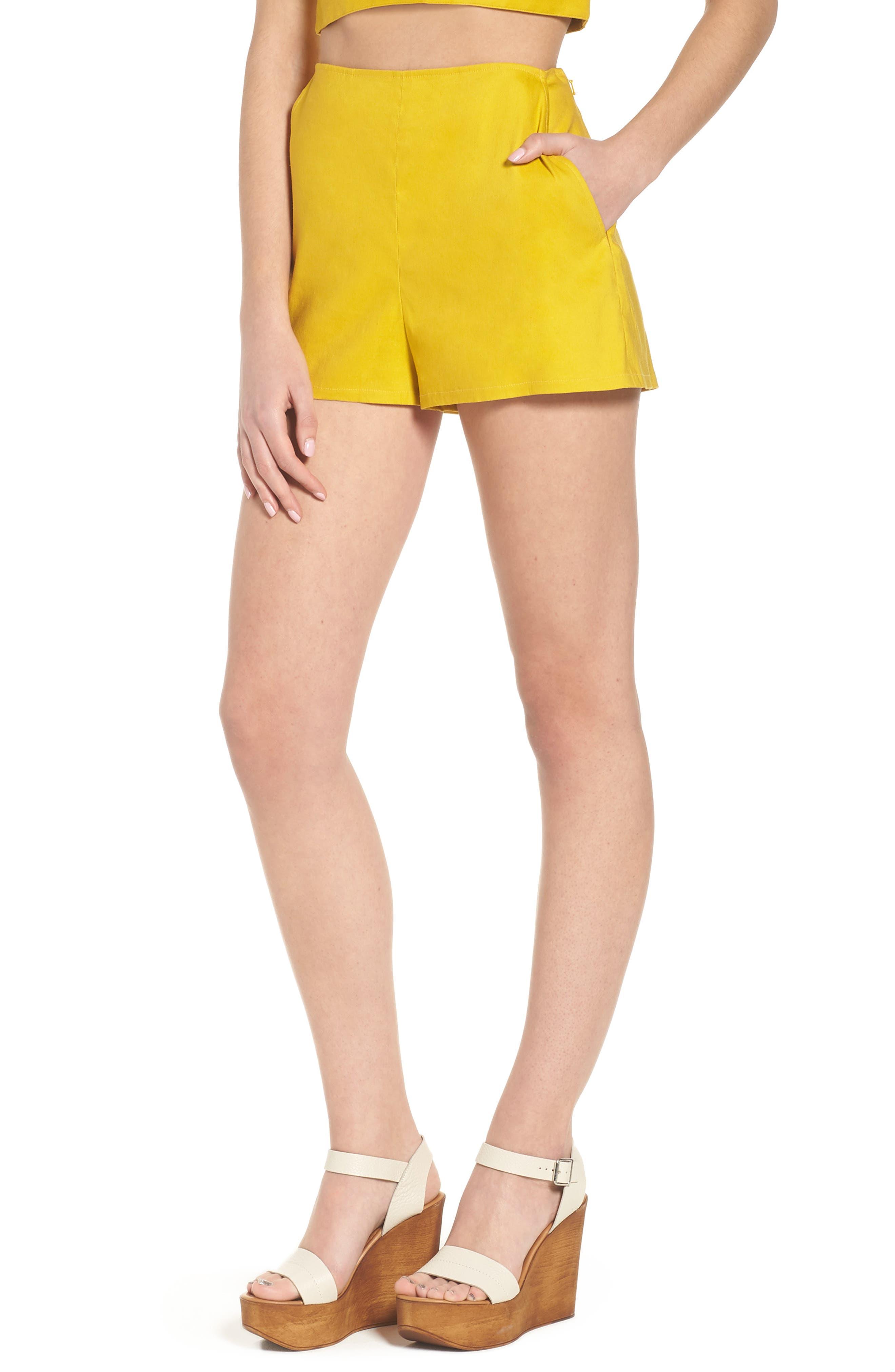 High Waist Linen Blend Shorts,                             Main thumbnail 4, color,