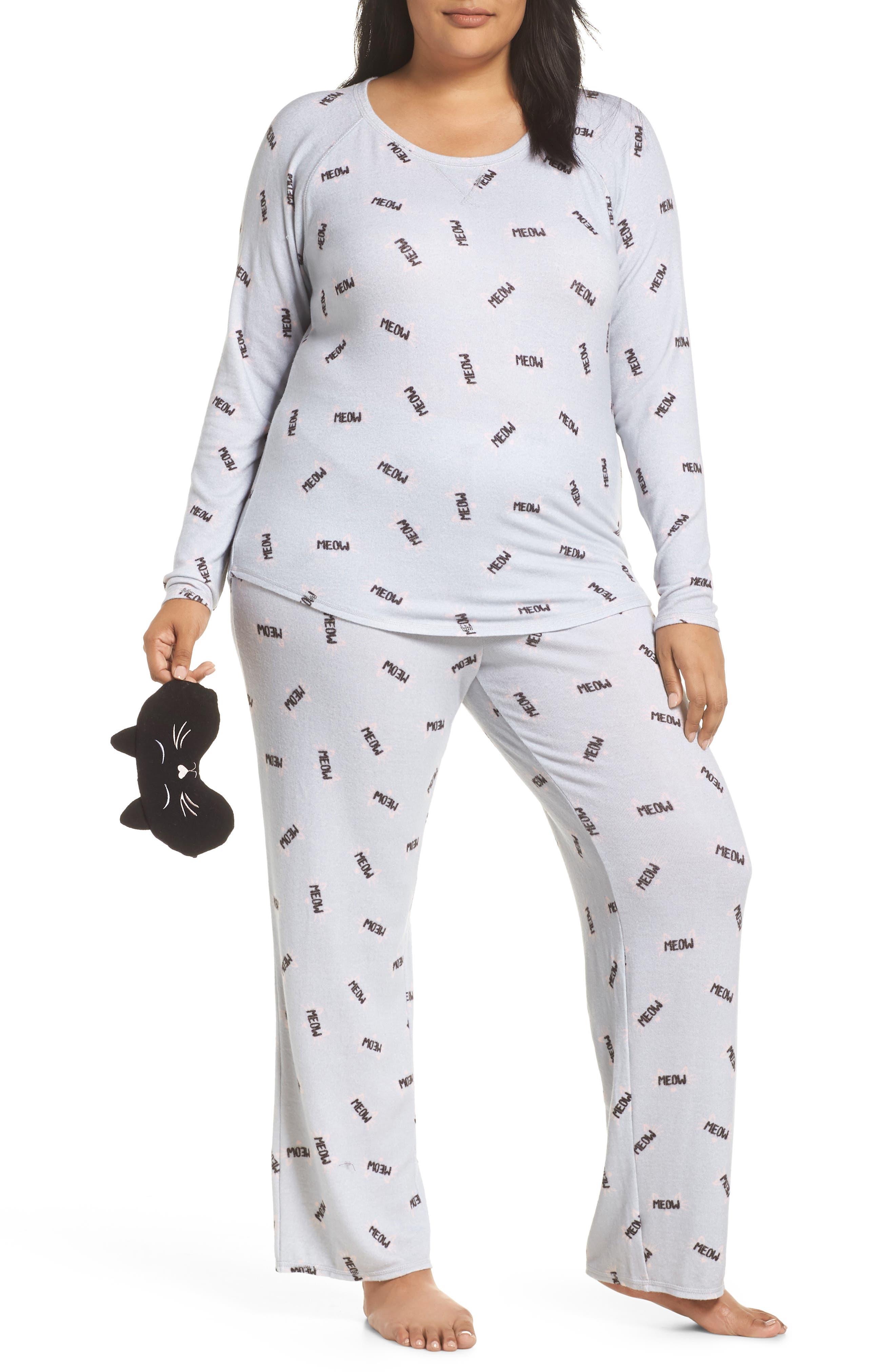 Plus Size Make + Model Knit Pajamas & Sleep Mask, Grey