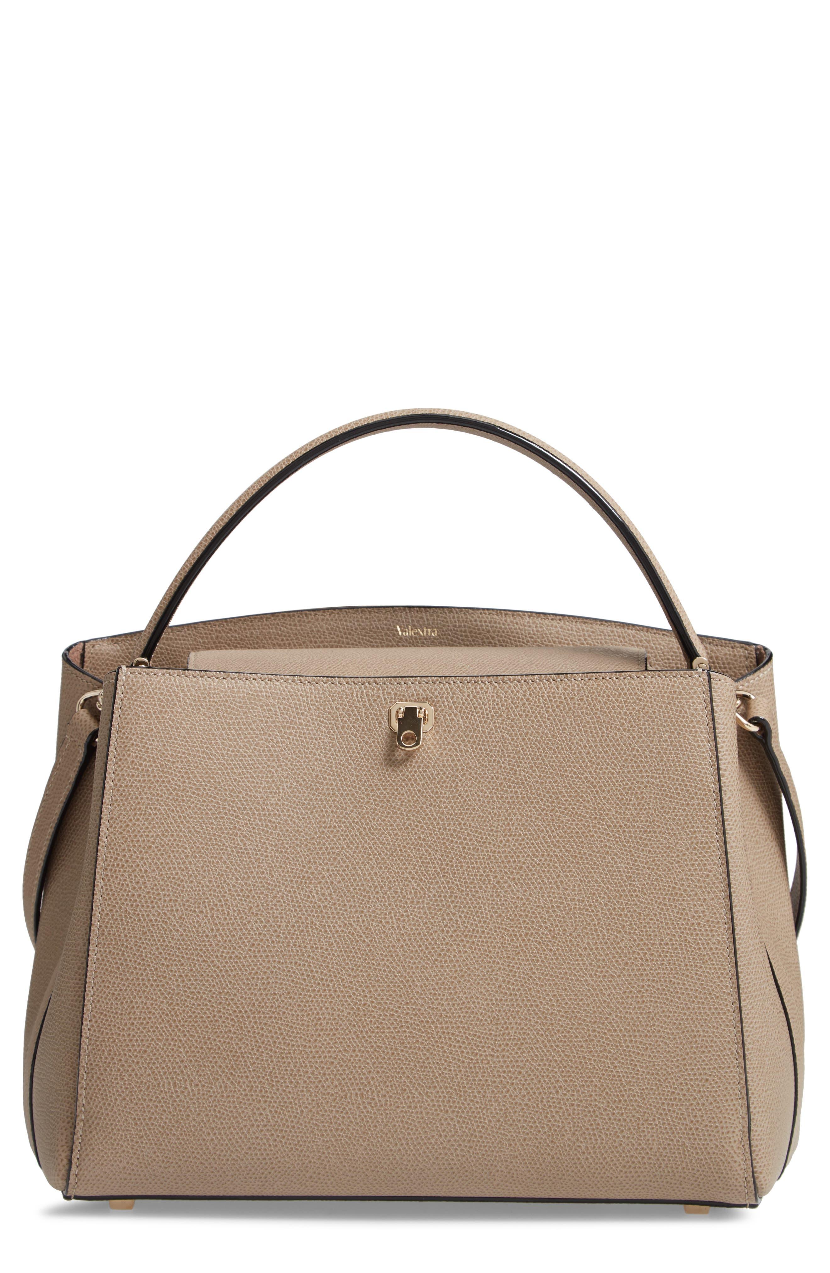 Medium Brera Leather Top Handle Bag - Beige in Oyster