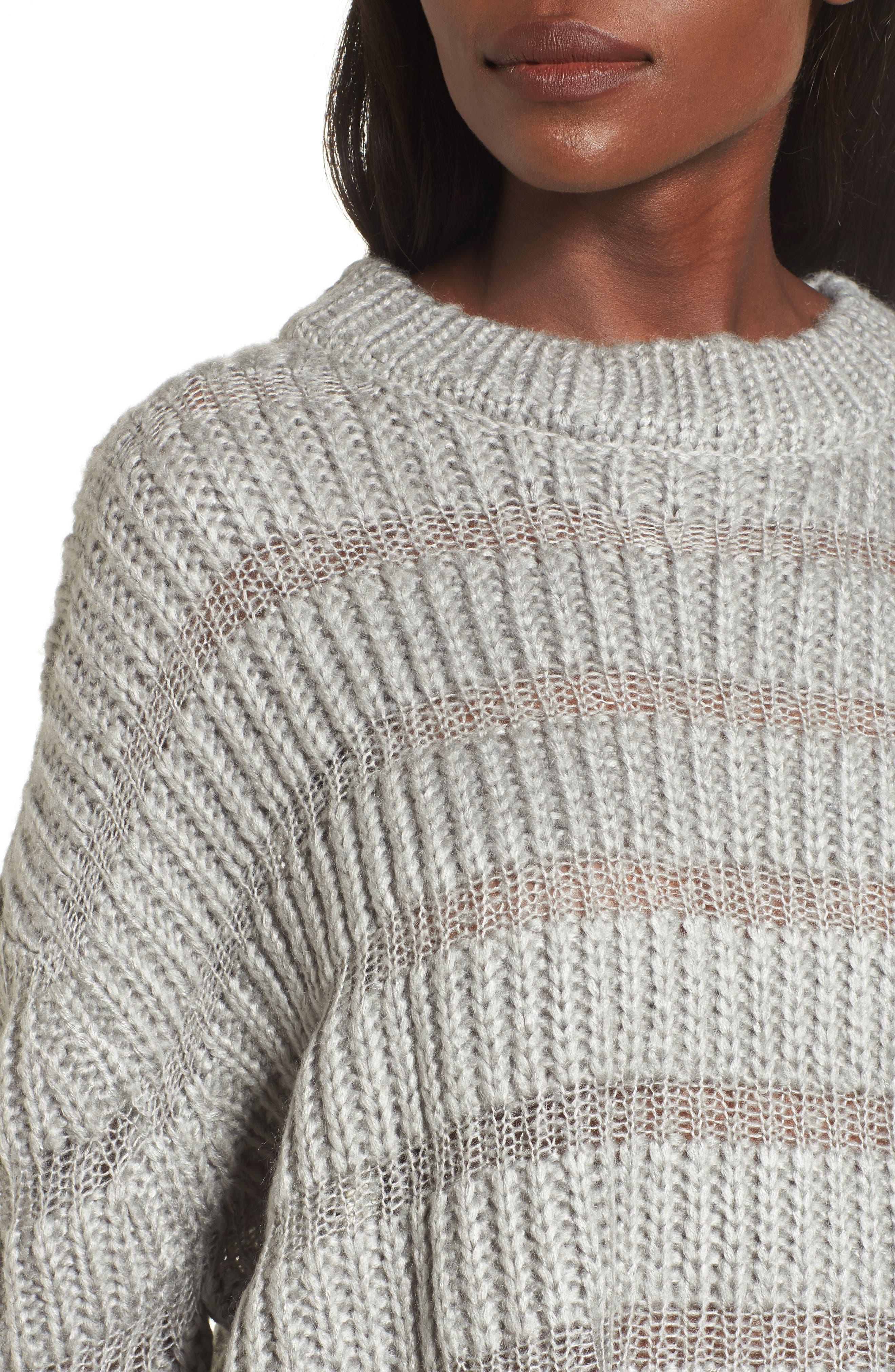 Textured Stripe Crop Sweater,                             Alternate thumbnail 4, color,