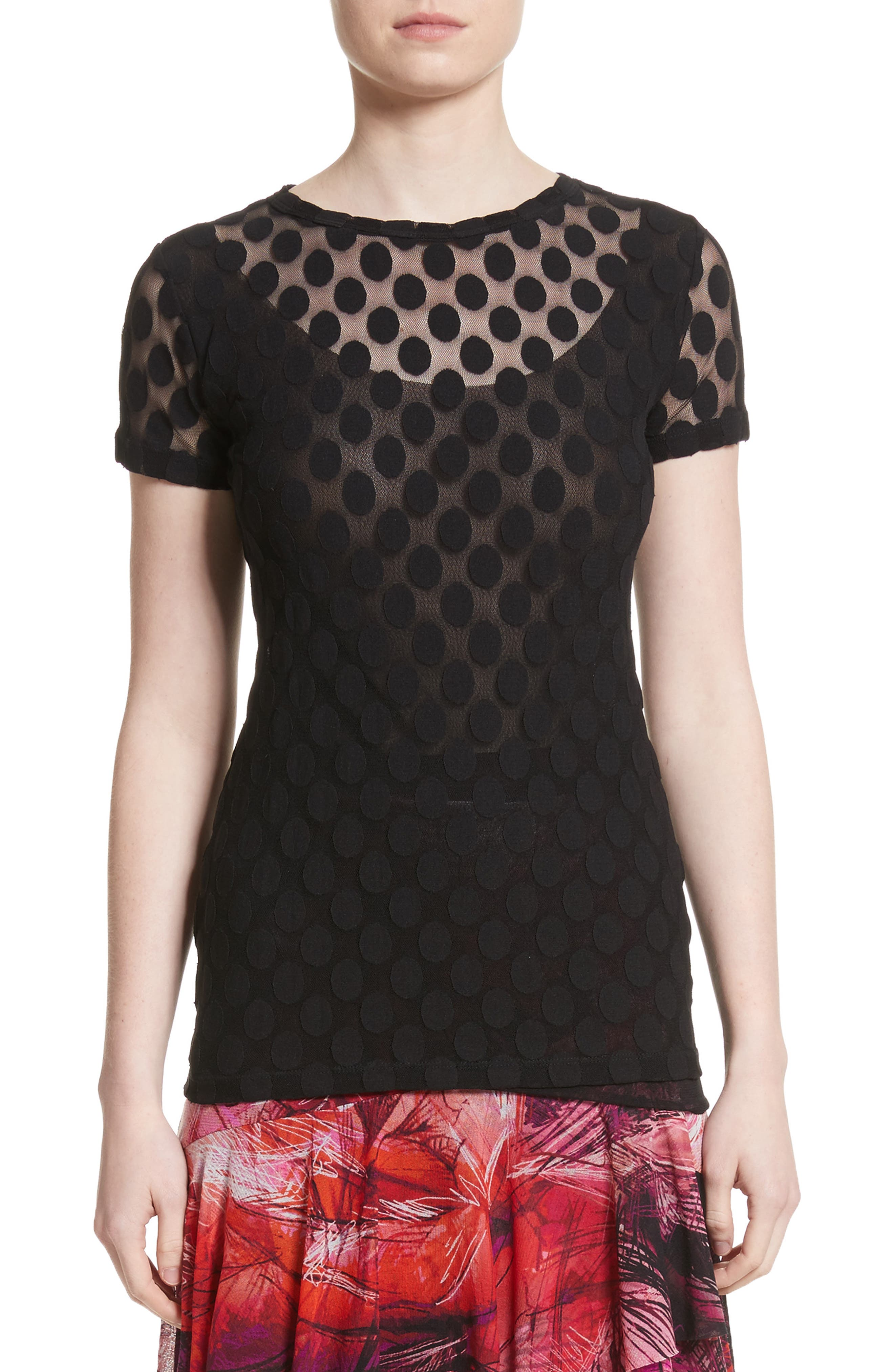 Dot Print Tulle Tee,                         Main,                         color, 001