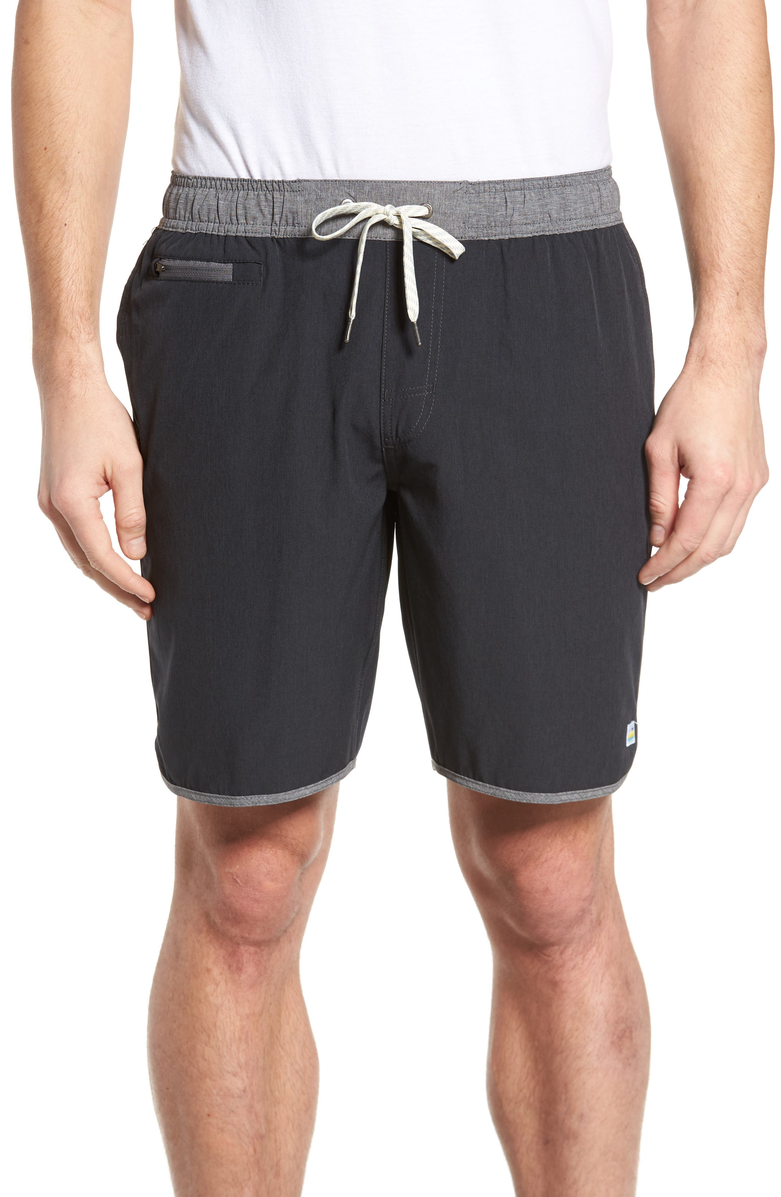 Banks Performance Hybrid Shorts,                             Main thumbnail 1, color,                             BLACK LINEN TEXTURE