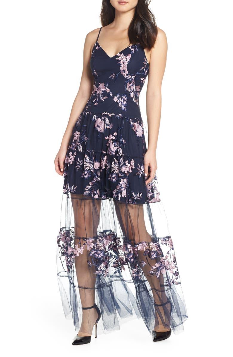 Badgley Mischka Sheer Hem Tulle Maxi Dress