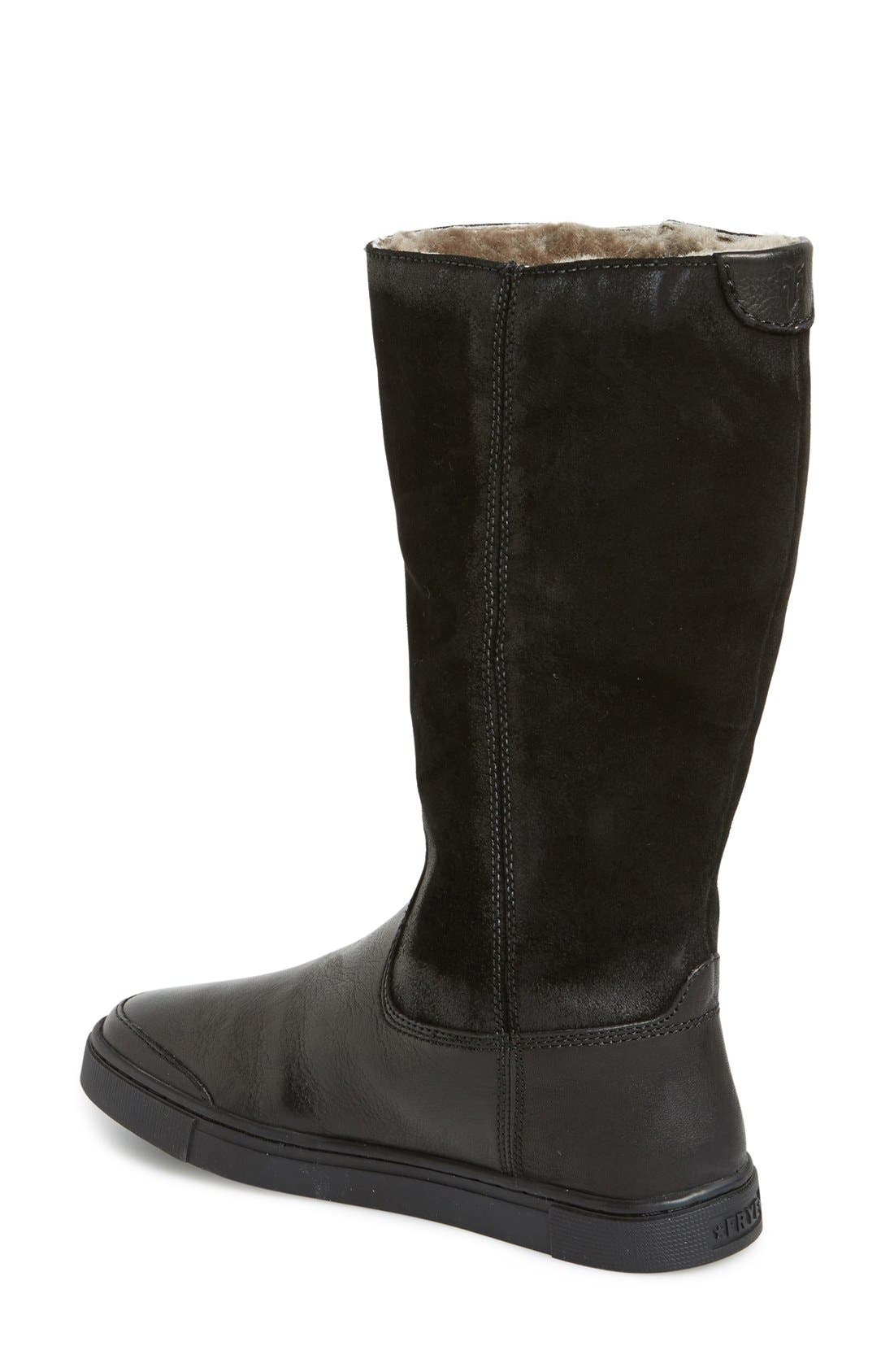 'Gemma' Tall Genuine Shearling Lined Boot,                             Alternate thumbnail 4, color,                             001