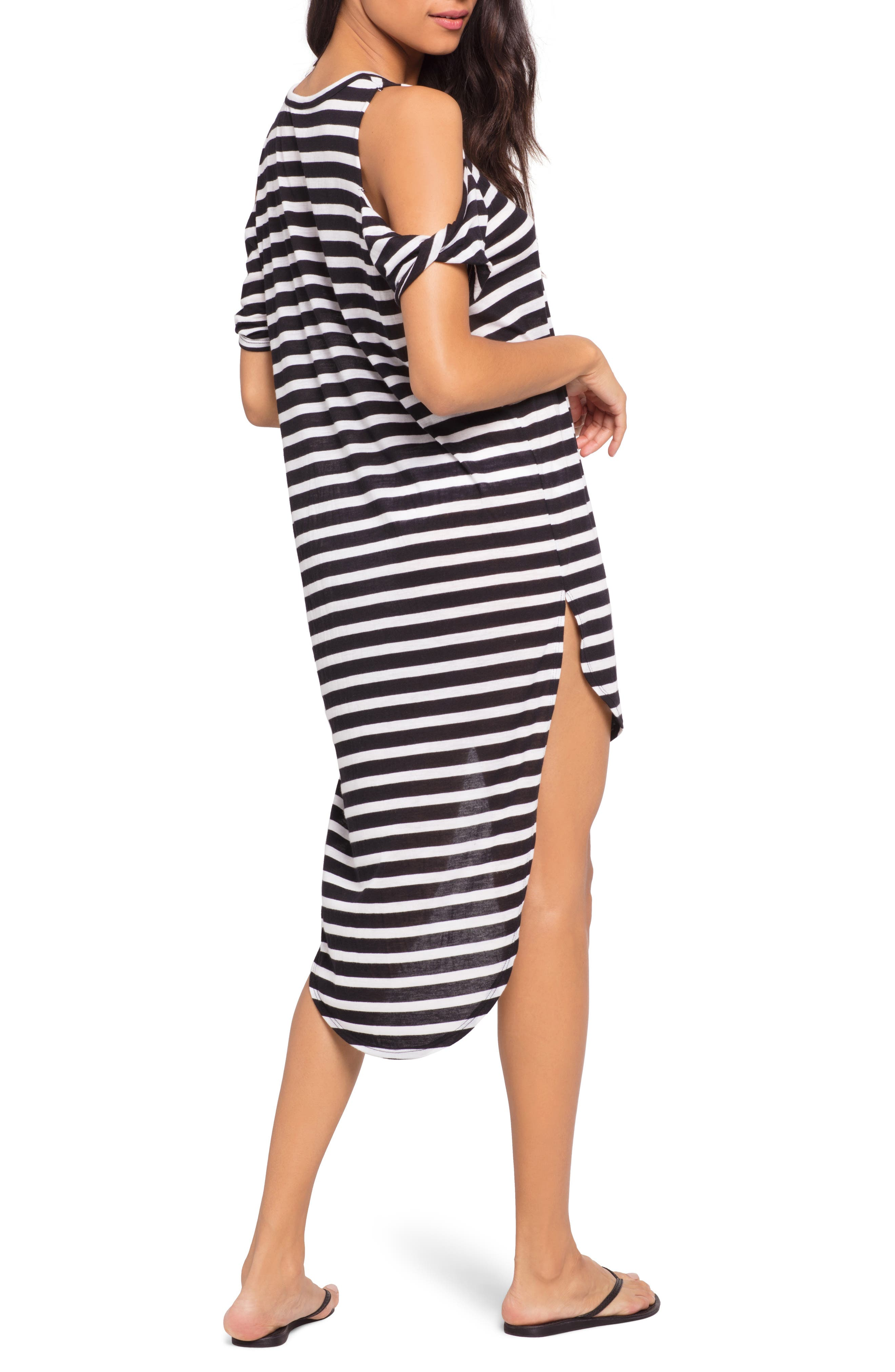 Mays High/Low Cover-Up Tee,                             Alternate thumbnail 2, color,                             DOMINO STRIPE