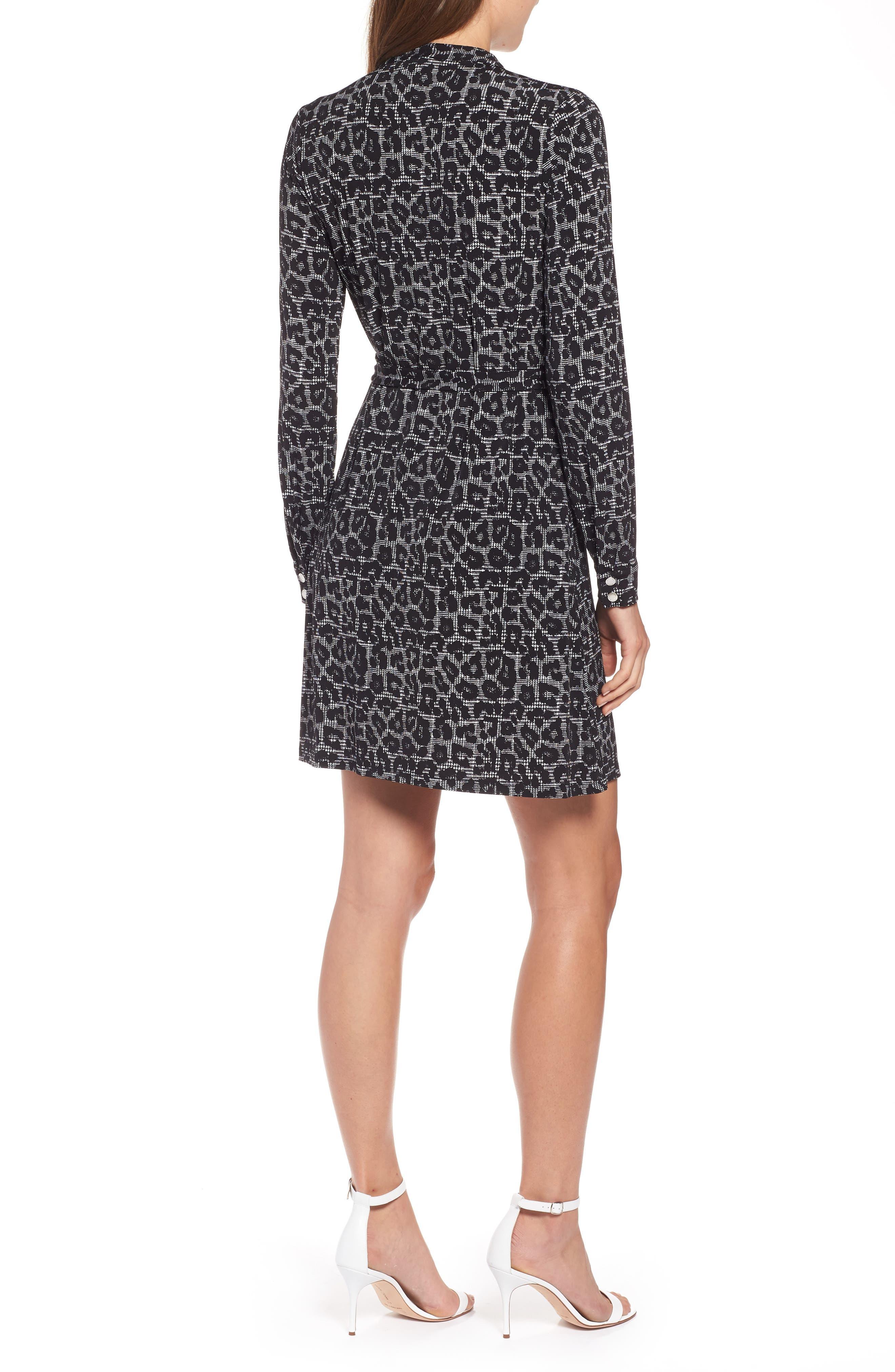 MICHAEL Michael Kors Leopard Plaid Shirtdress,                             Alternate thumbnail 2, color,                             001