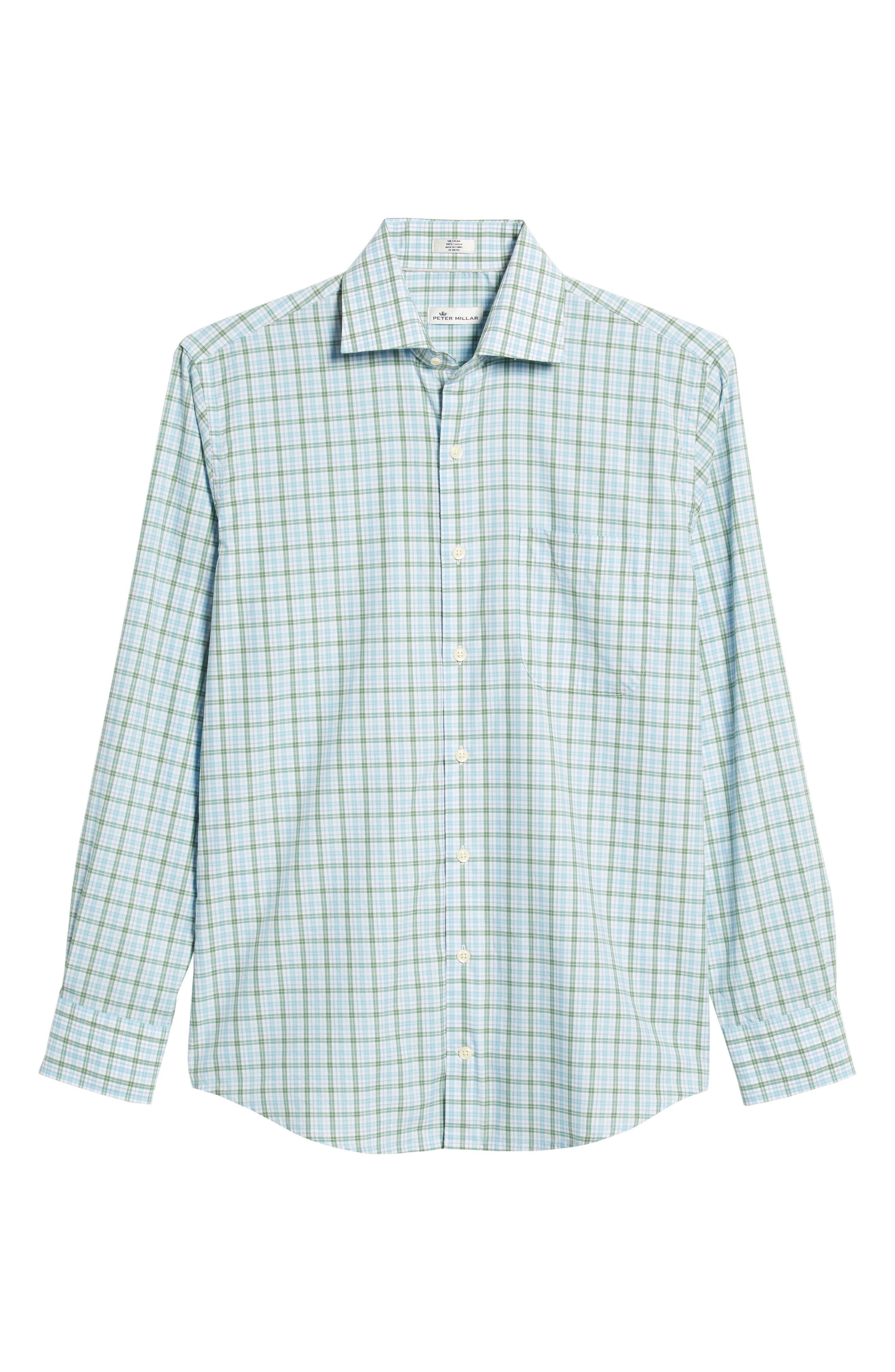 Crown Finish Linden Check Regular Fit Sport Shirt,                             Alternate thumbnail 5, color,                             BLUE