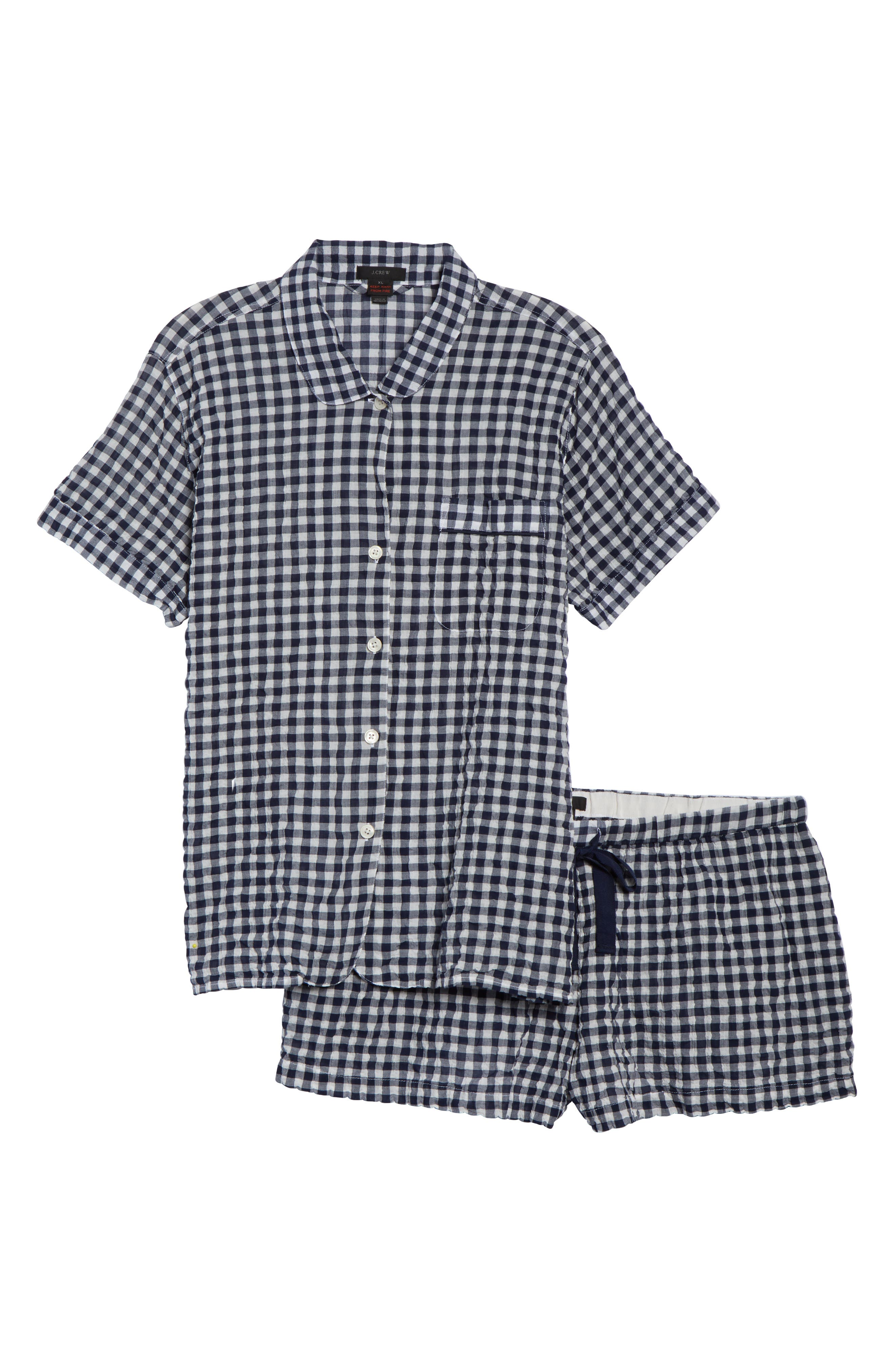 Gingham Pajama Set,                             Alternate thumbnail 12, color,                             IVORY/ NAVY