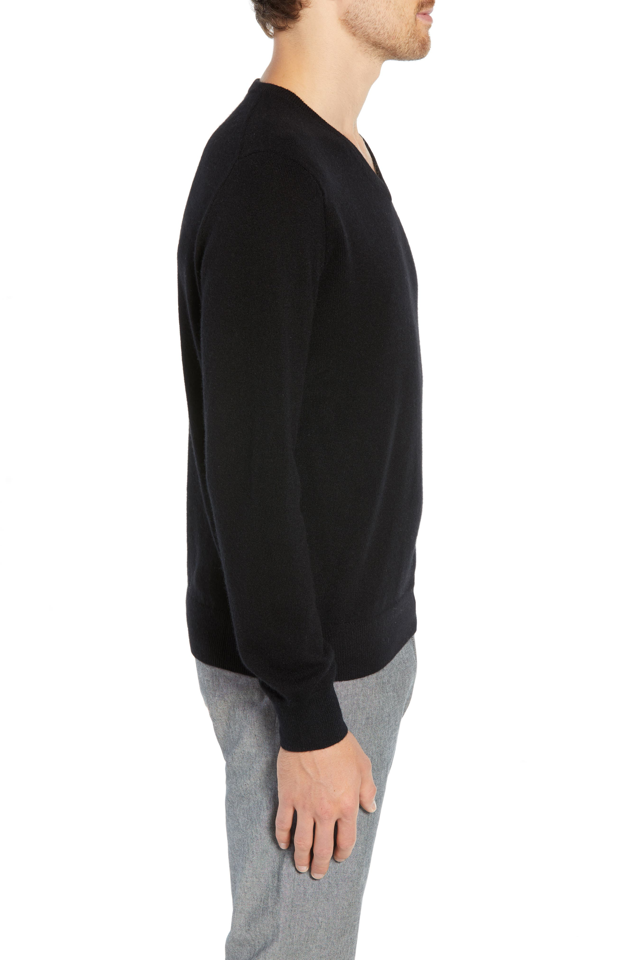 J.CREW,                             Everyday Cashmere Regular Fit V-Neck Sweater,                             Alternate thumbnail 3, color,                             001