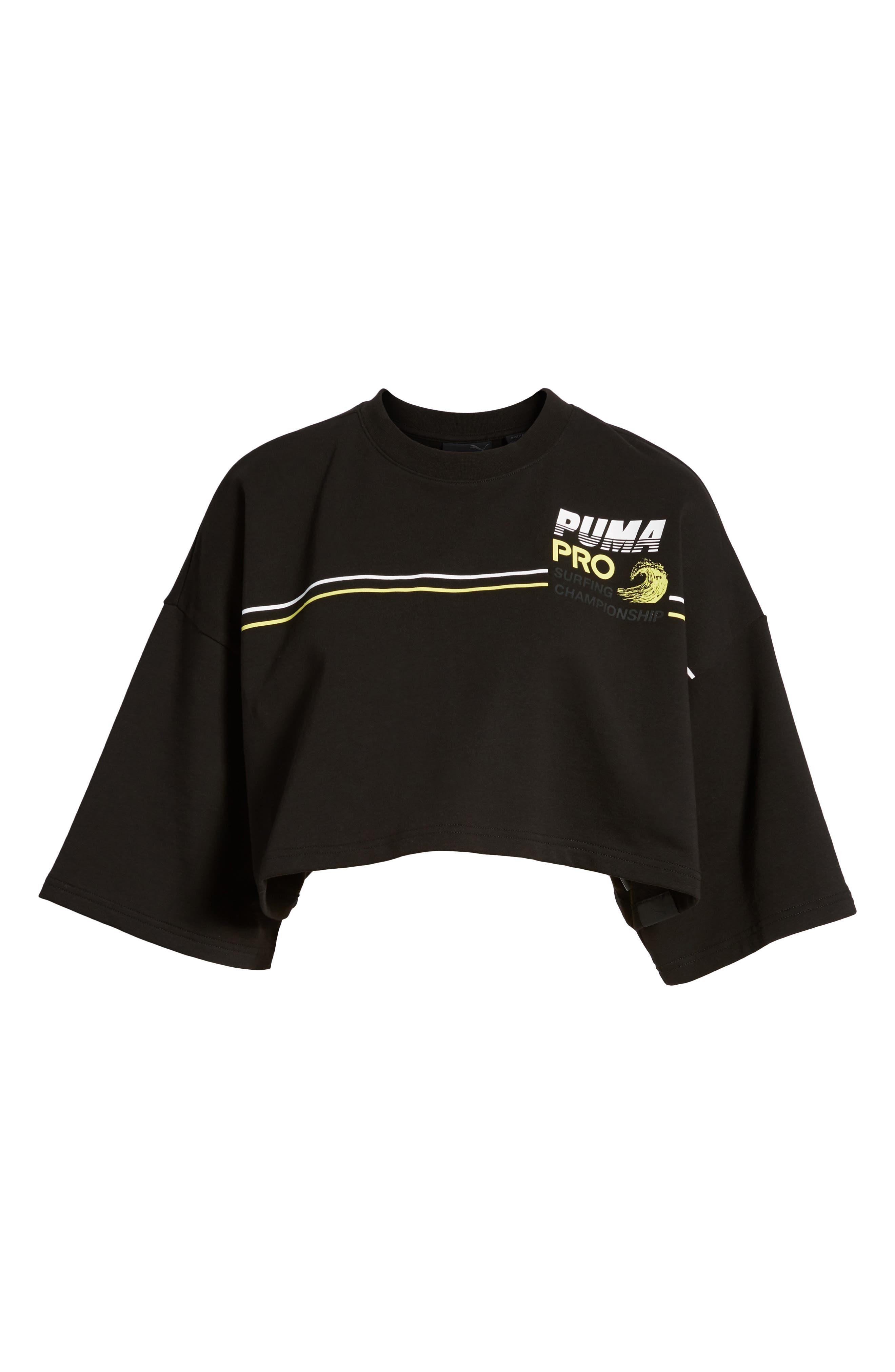 PUMA by Rihanna Graphic Short Sleeve Crop Sweatshirt,                             Alternate thumbnail 7, color,                             001