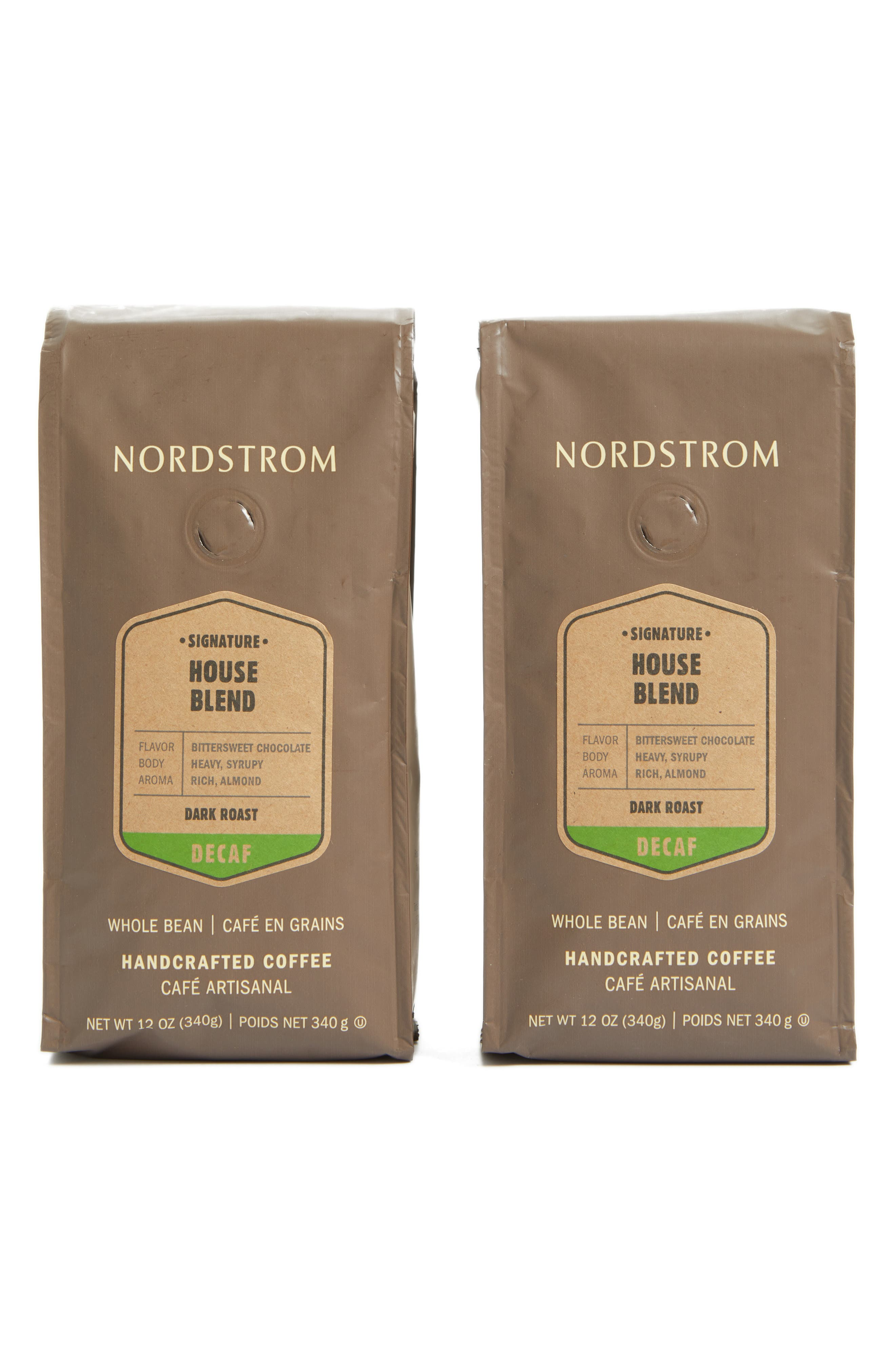 NORDSTROM,                             Coffee 'House Blend - Decaf' Whole Bean Coffee,                             Main thumbnail 1, color,                             BEIGE/ KHAKI