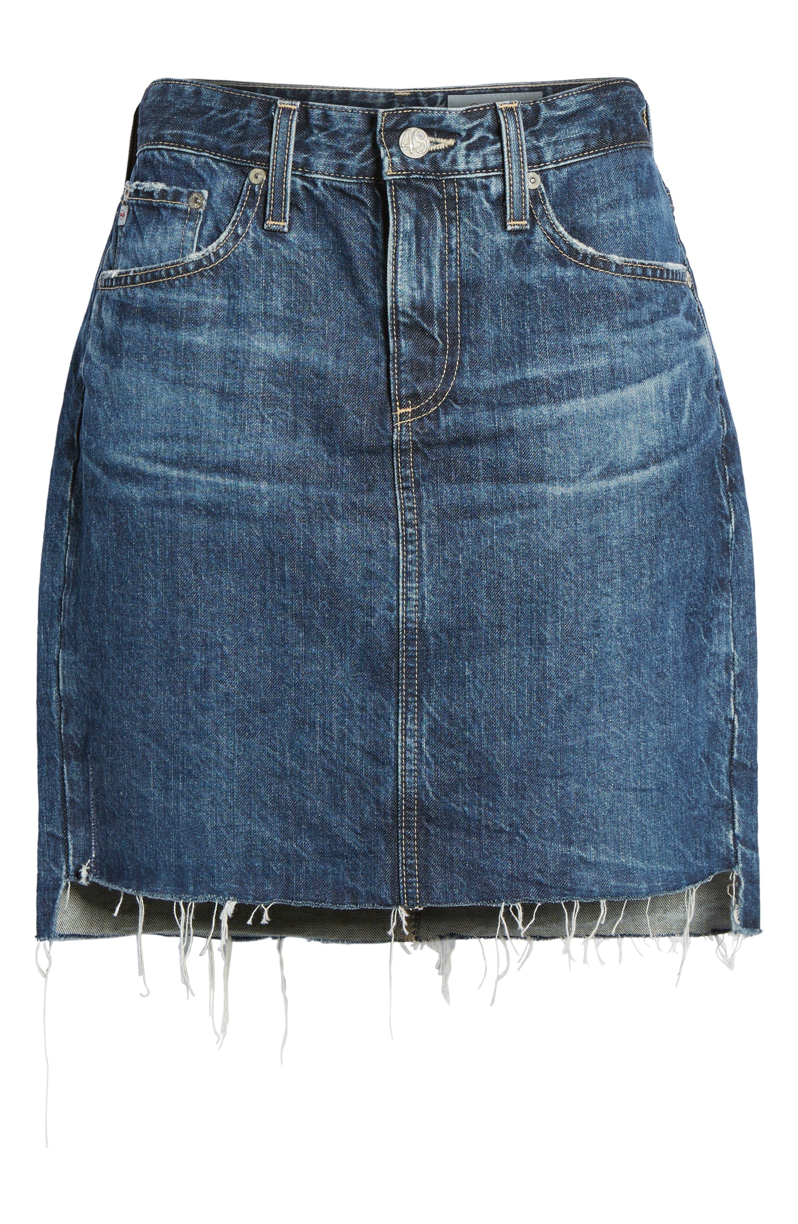 Erin Step Hem Denim Skirt,                             Alternate thumbnail 6, color,                             404