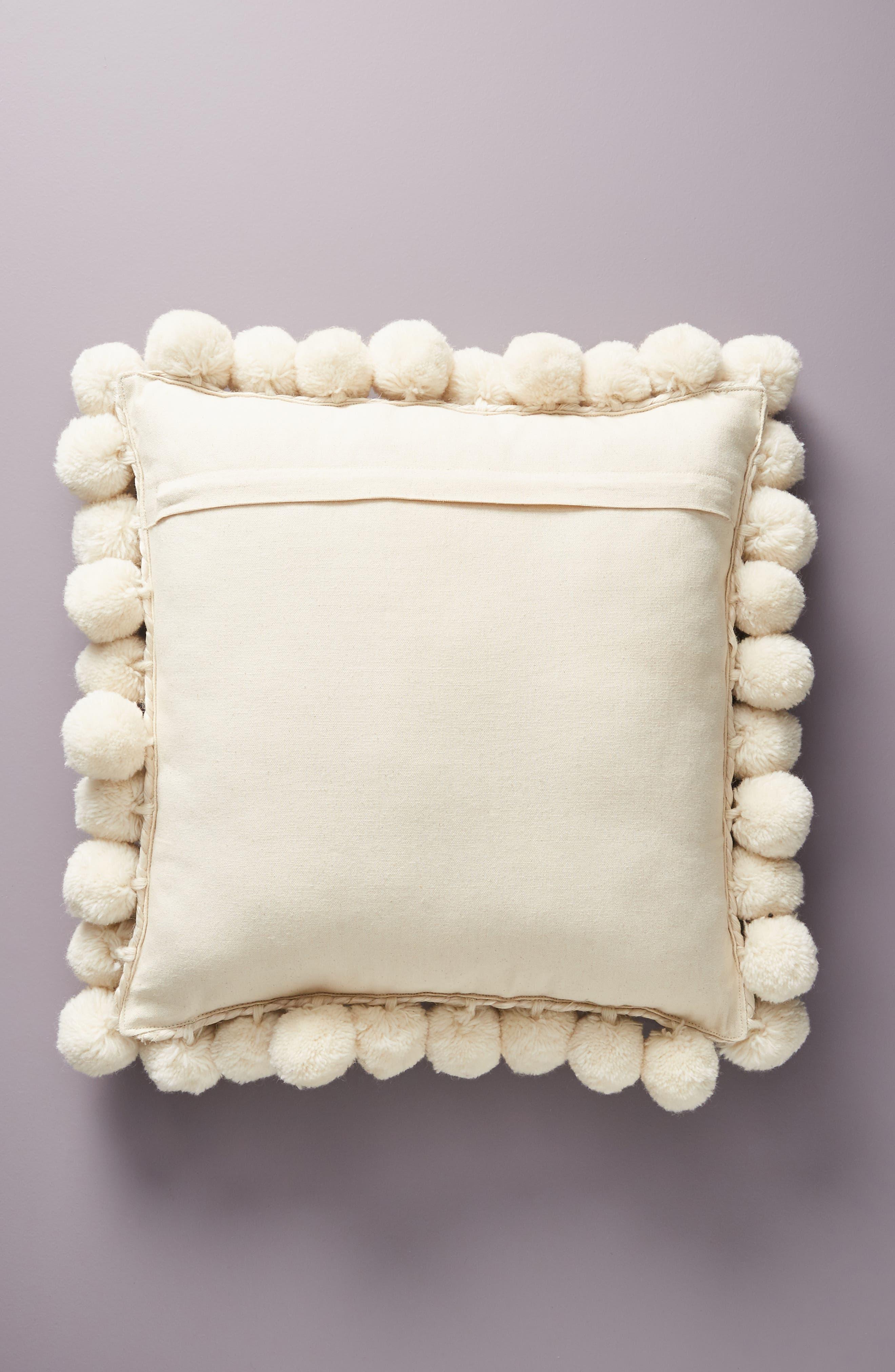 Pompom Jute Accent Pillow,                             Alternate thumbnail 2, color,                             IVORY