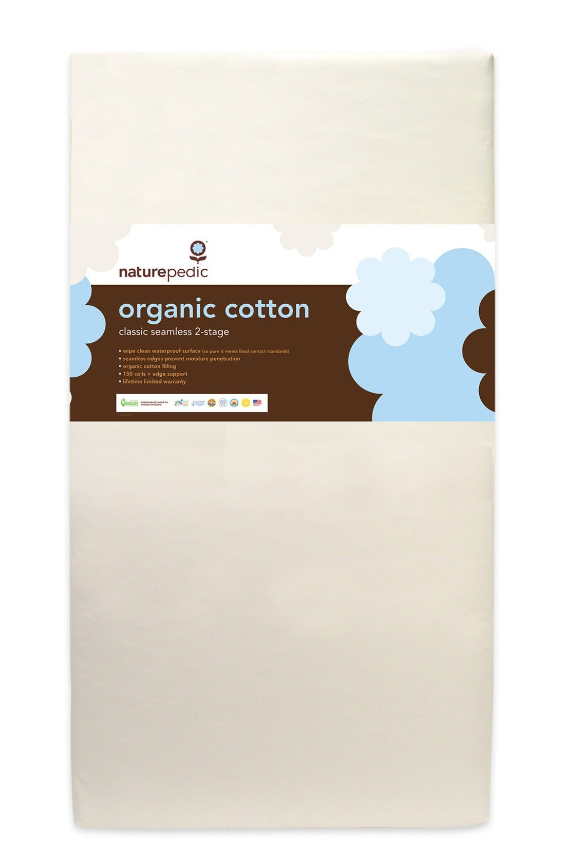 '150' Seamless Organic Cotton 2-Stage Crib Mattress,                         Main,                         color, WHITE