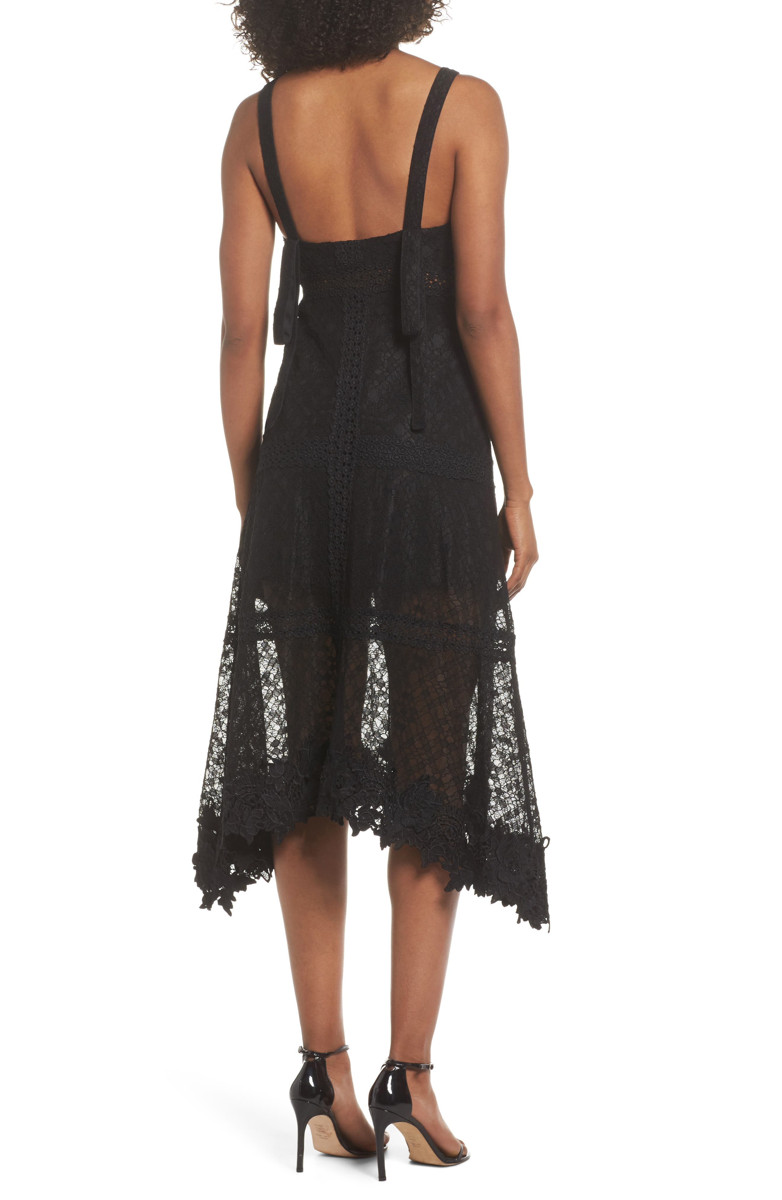 Angelisa Lace Midi Dress,                             Alternate thumbnail 2, color,                             BLACK
