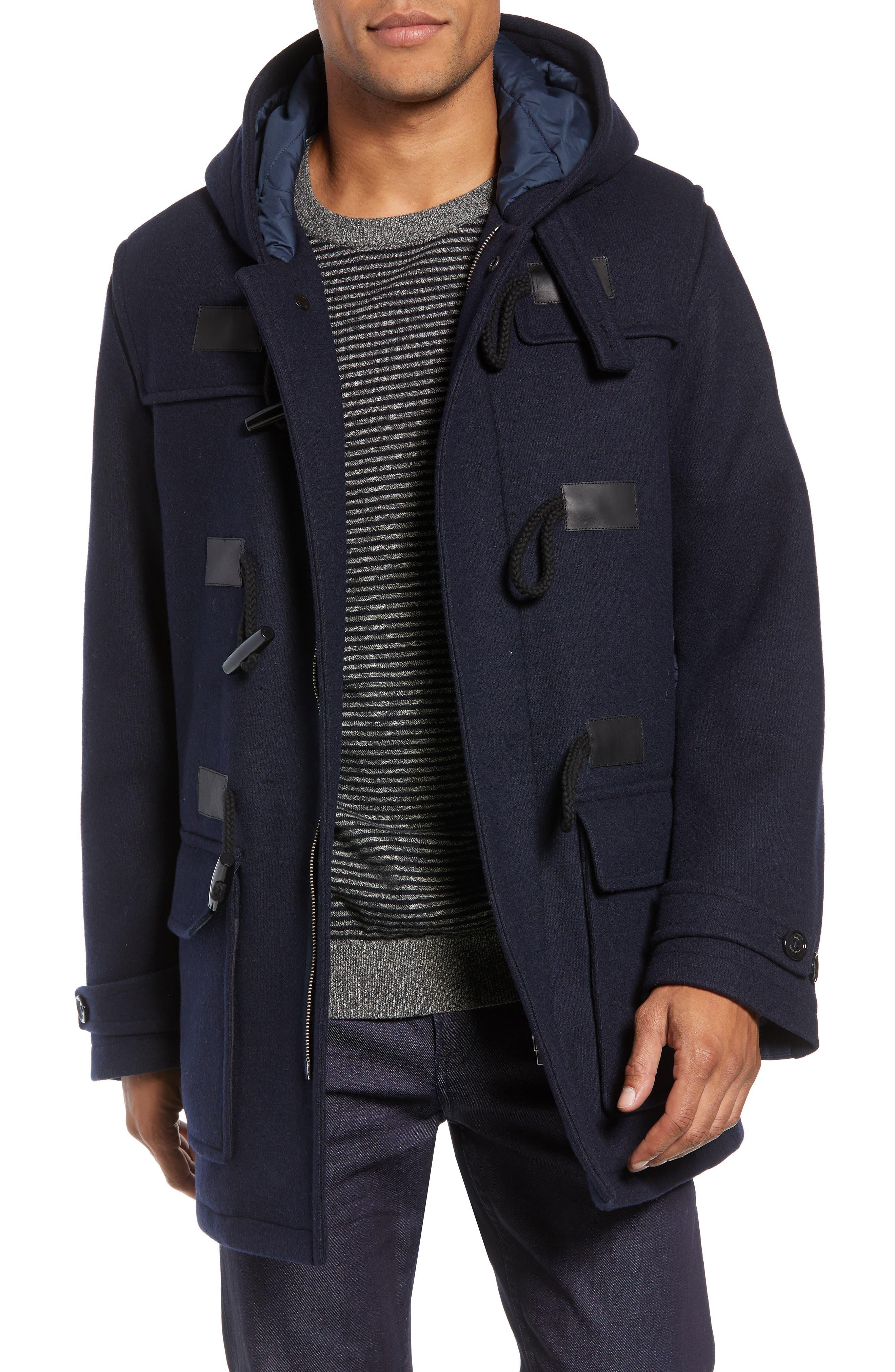 Casil Mixed Media Duffle Coat,                             Main thumbnail 1, color,                             BLUE