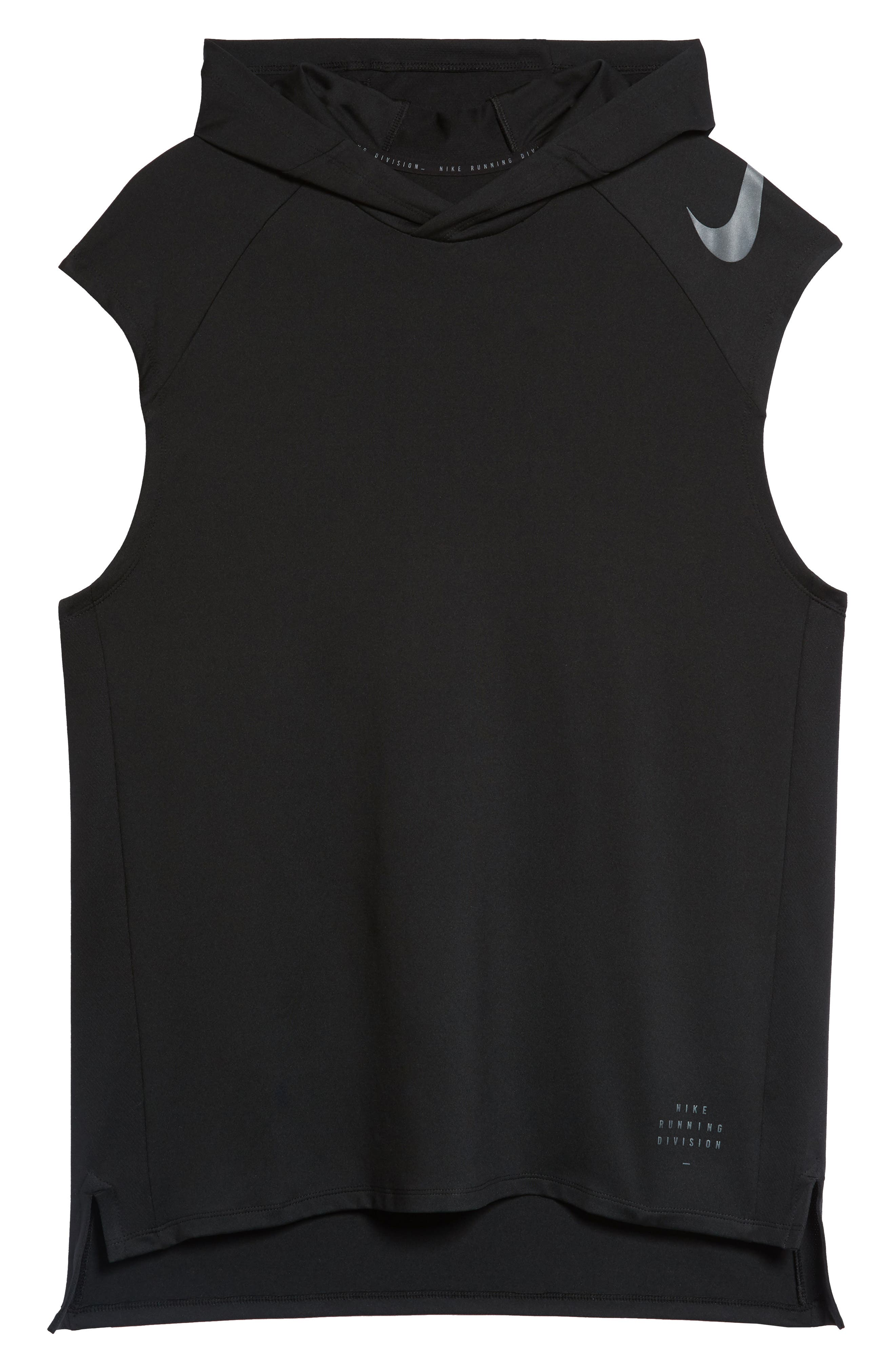 Dry Element Sleeveless Hoodie,                             Alternate thumbnail 6, color,                             BLACK