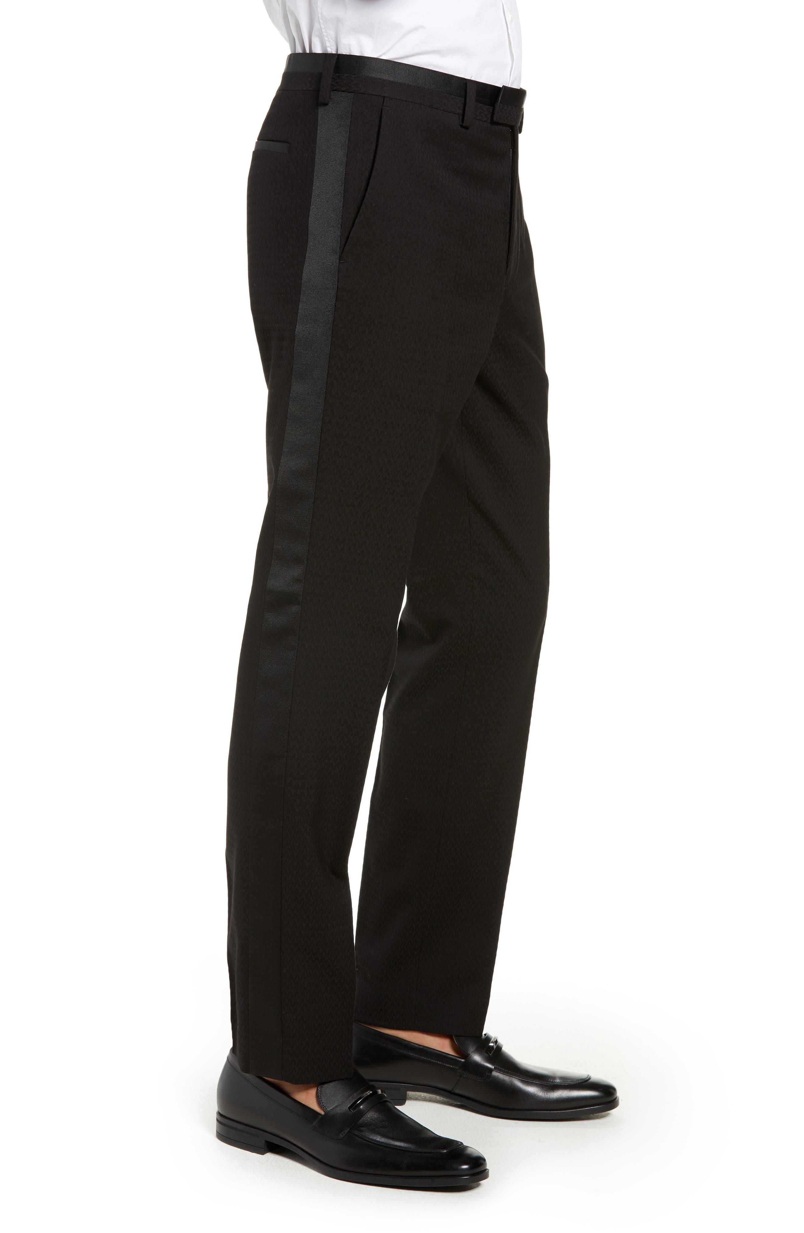 Kingley Slim Fit Tuxedo Pants,                             Alternate thumbnail 3, color,                             BLACK