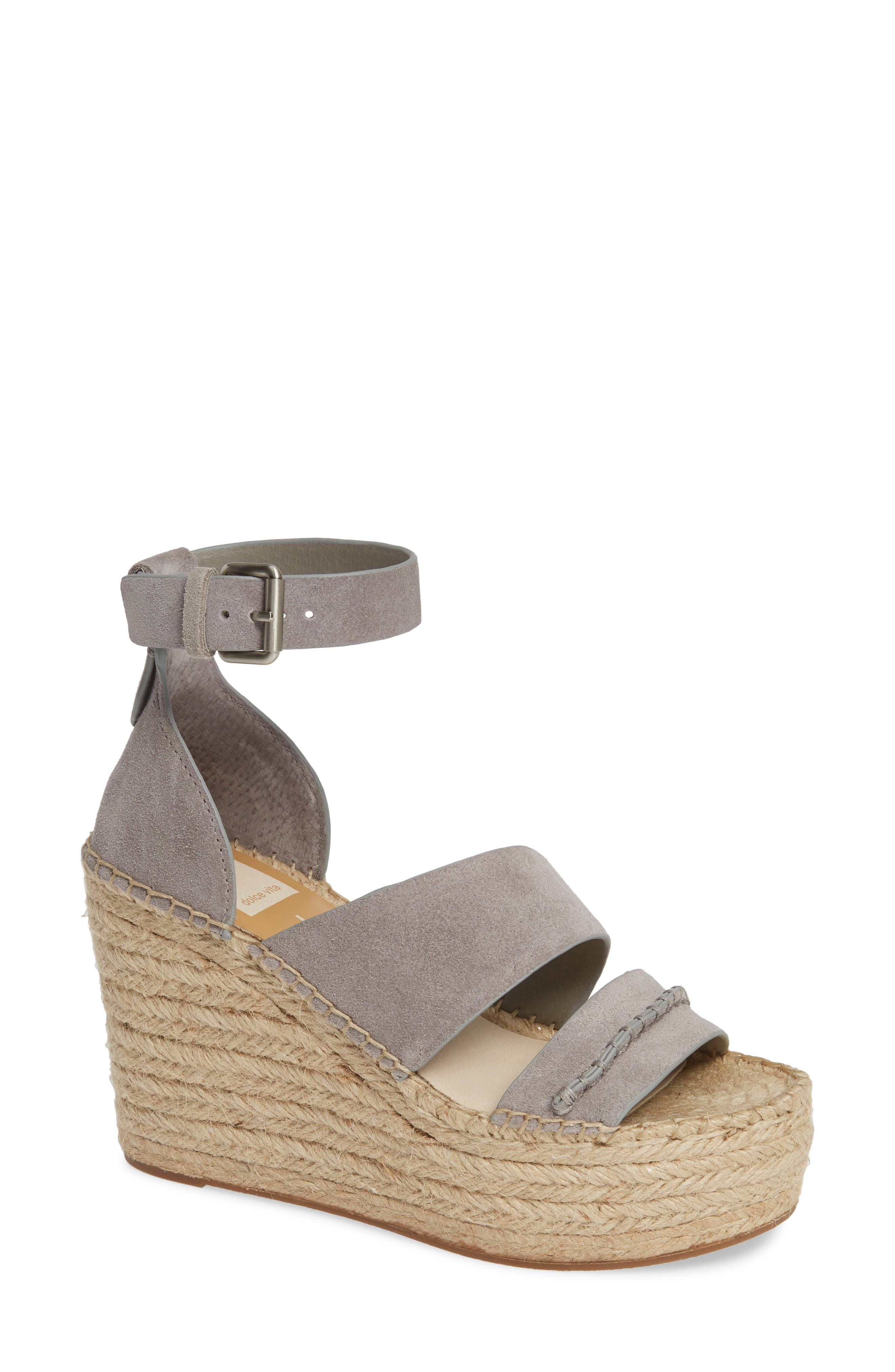 DOLCE VITA Women'S Simi Suede Espadrille Wedge Sandals in Smoke Suede