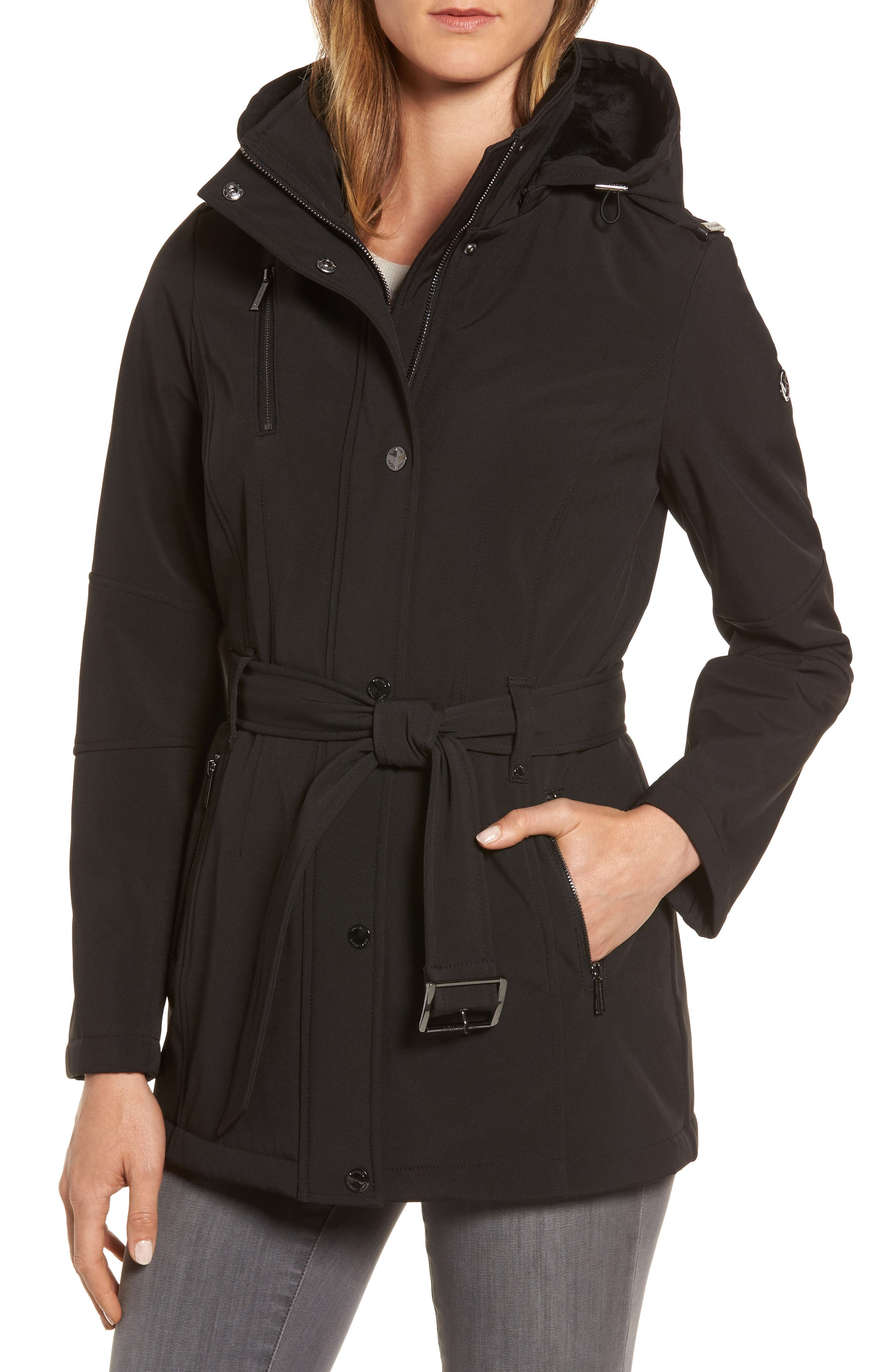 Waterproof Belted Jacket with Detachable Hood,                         Main,                         color, 001