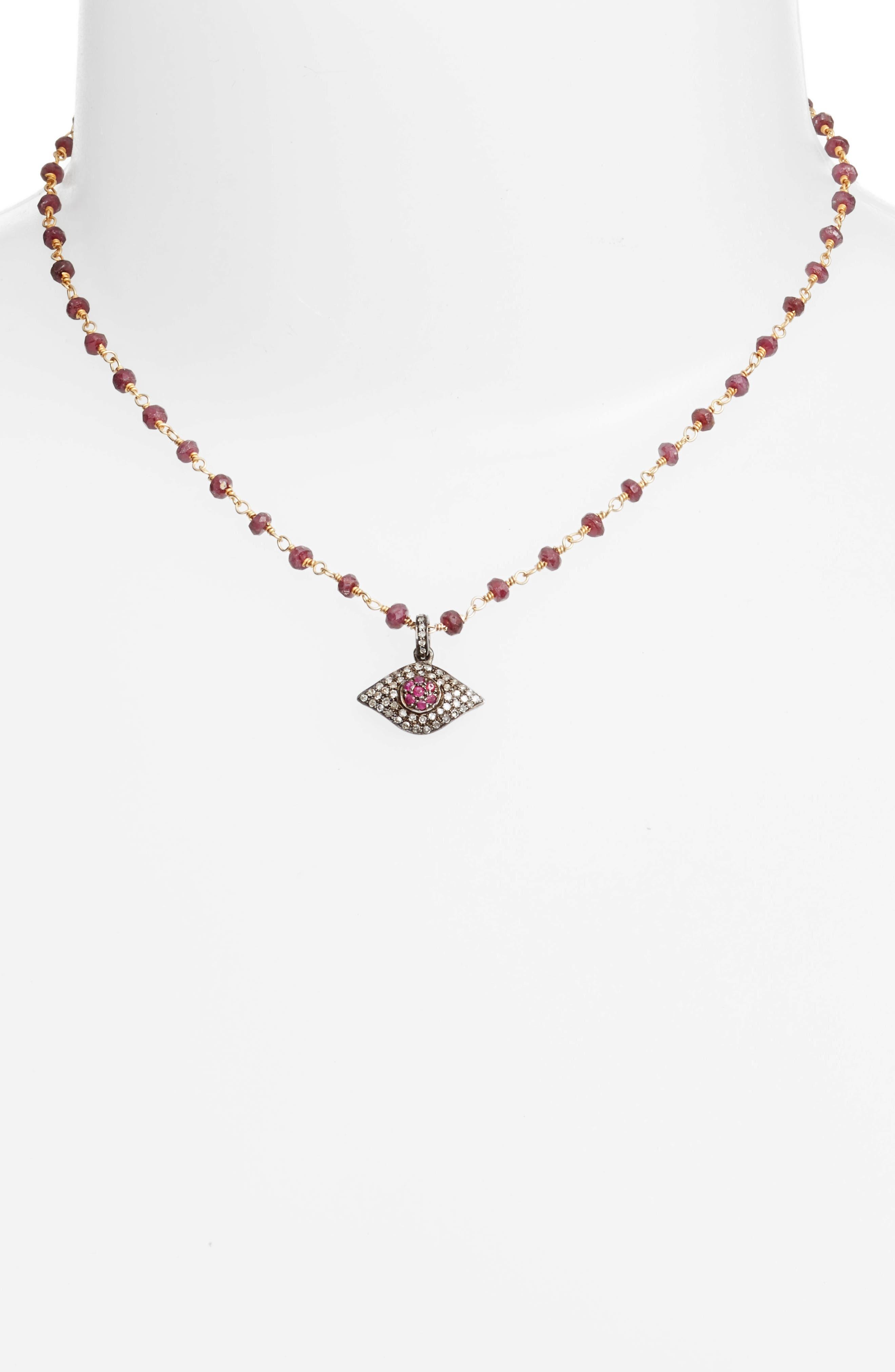 Phoebe Diamond Evil Eye Pendant Necklace,                             Main thumbnail 1, color,                             SAPPHIRE