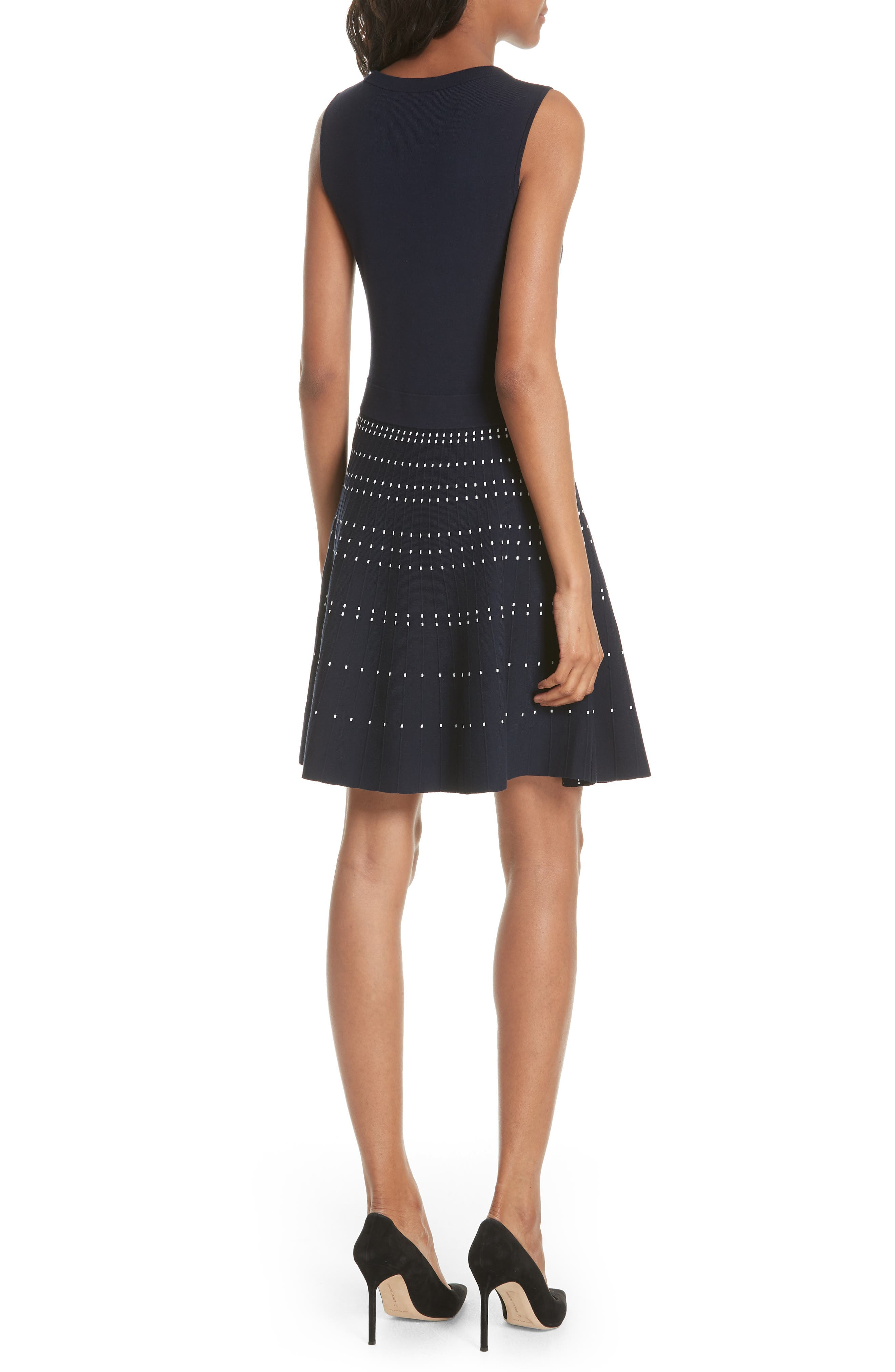 textured fit & flare sweater dress,                             Alternate thumbnail 2, color,