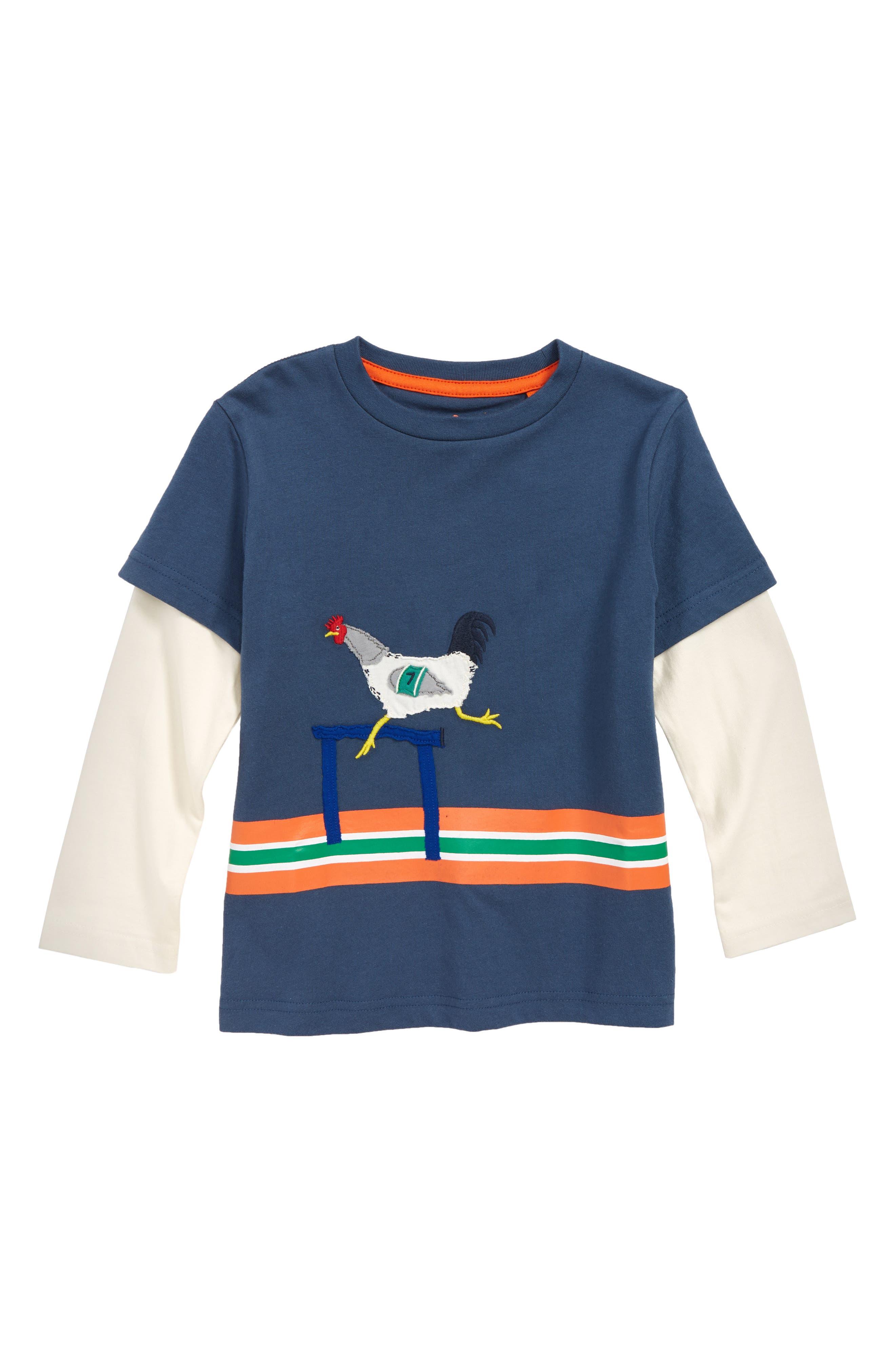 Active Animals Layered T-Shirt,                             Main thumbnail 1, color,                             ROBOT BLUE