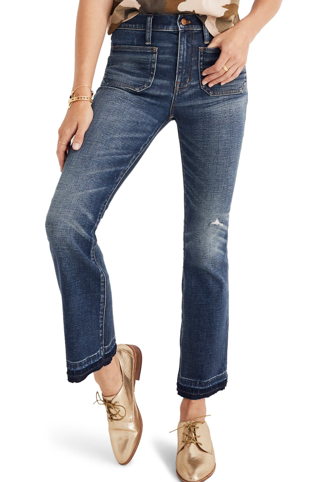 Cali Patch Pocket High Waist Demi Boot Jeans,                         Main,                         color, DERMOTT