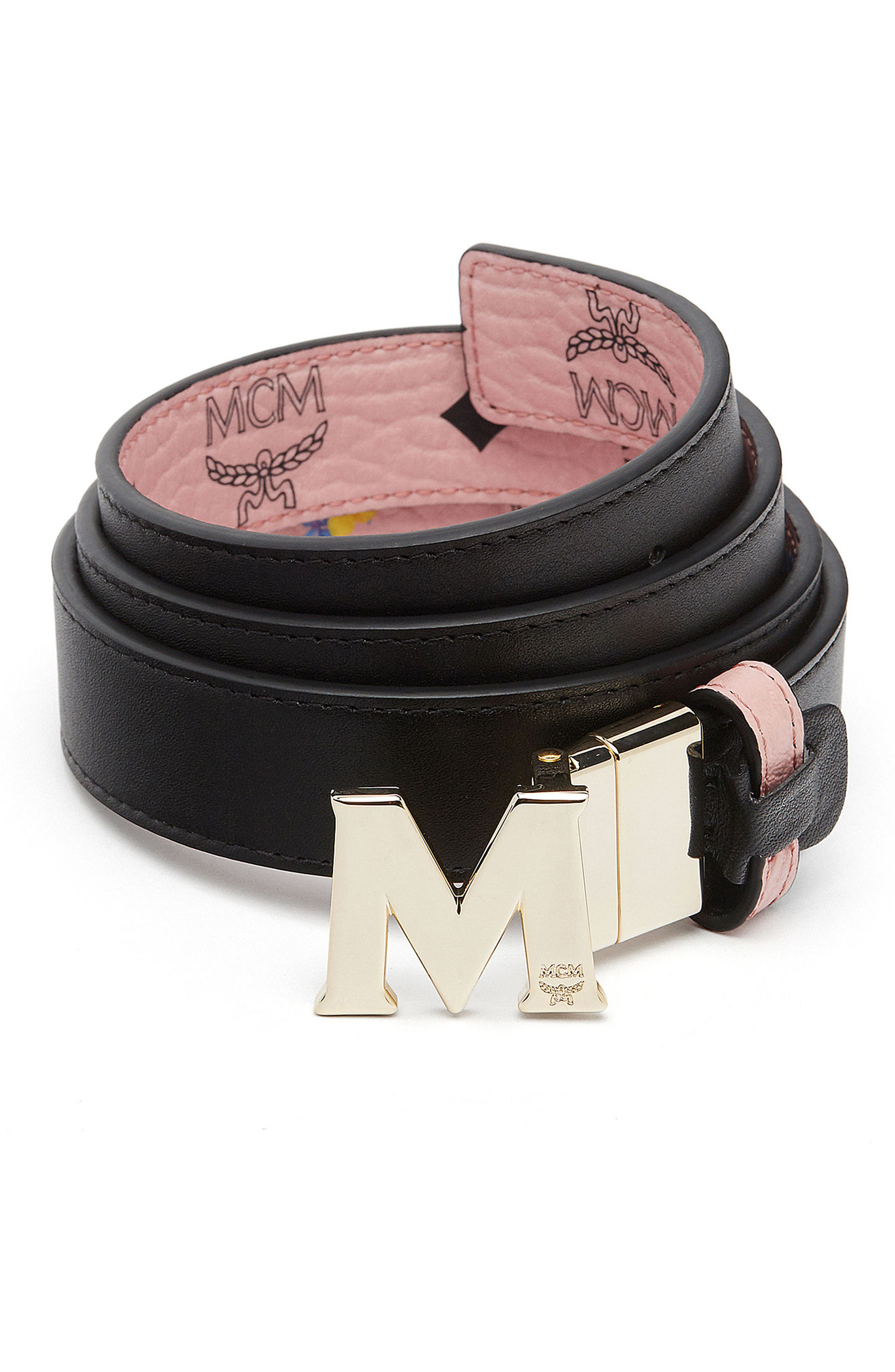 Essential Floral Flat M Logo Buckle Reversible Belt,                             Alternate thumbnail 4, color,